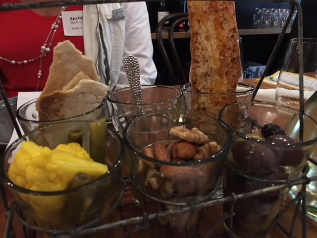 Snack Caddy  - Mixed nuts, mixed olives, selecton of seasonal pickled vegetable (pickled in house), orange mustard marmalade. With an assortment of house made fatbread breads & crackers