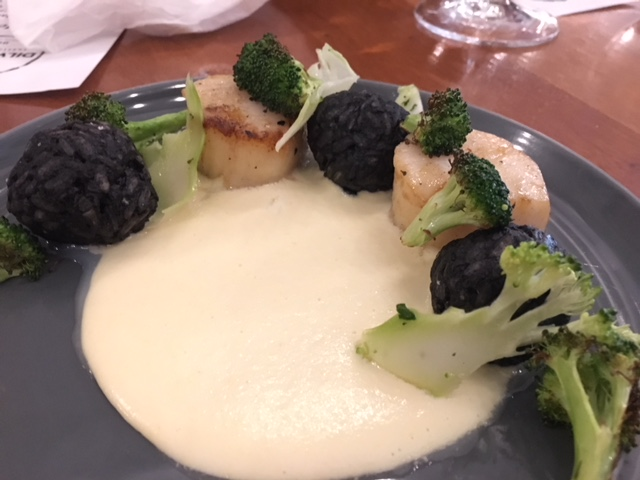 Pan-Seared Scallops - Roasted broccoli, black risotto, with corn veloutee