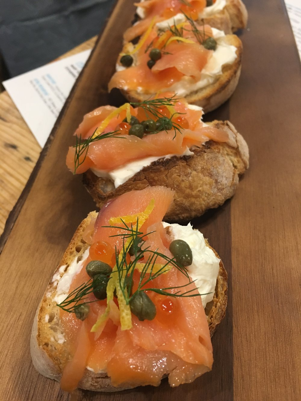 Take it to the Bridge  - ACME smoked salmon, house toast, dill, red onion, capers, and Ikura (salmon caviar)