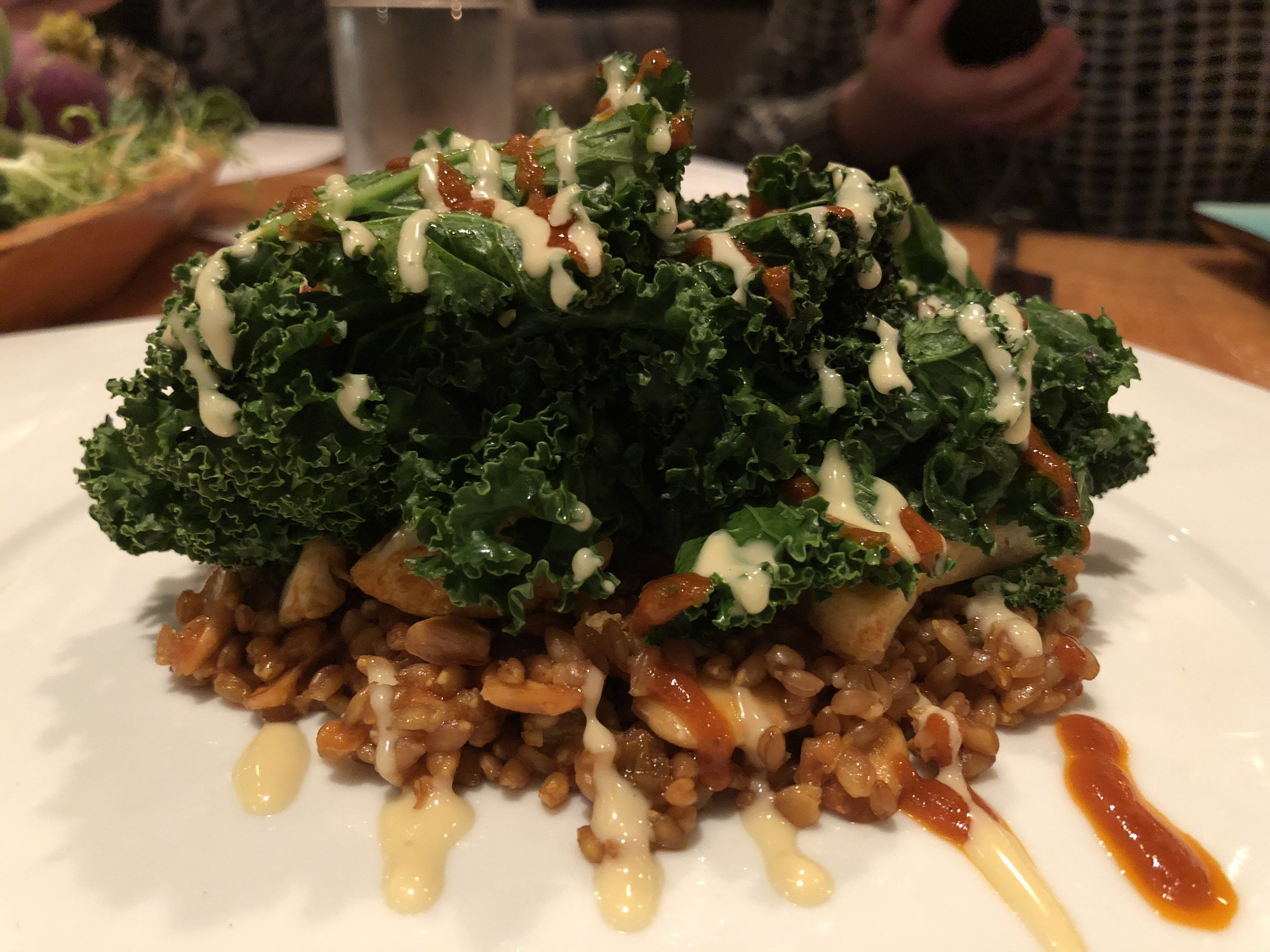 Roasted Kale & Farro Salad - Farro. Kale. Cauliflower. Golden Raisins. Marcona Almonds. Tahini Dressing.