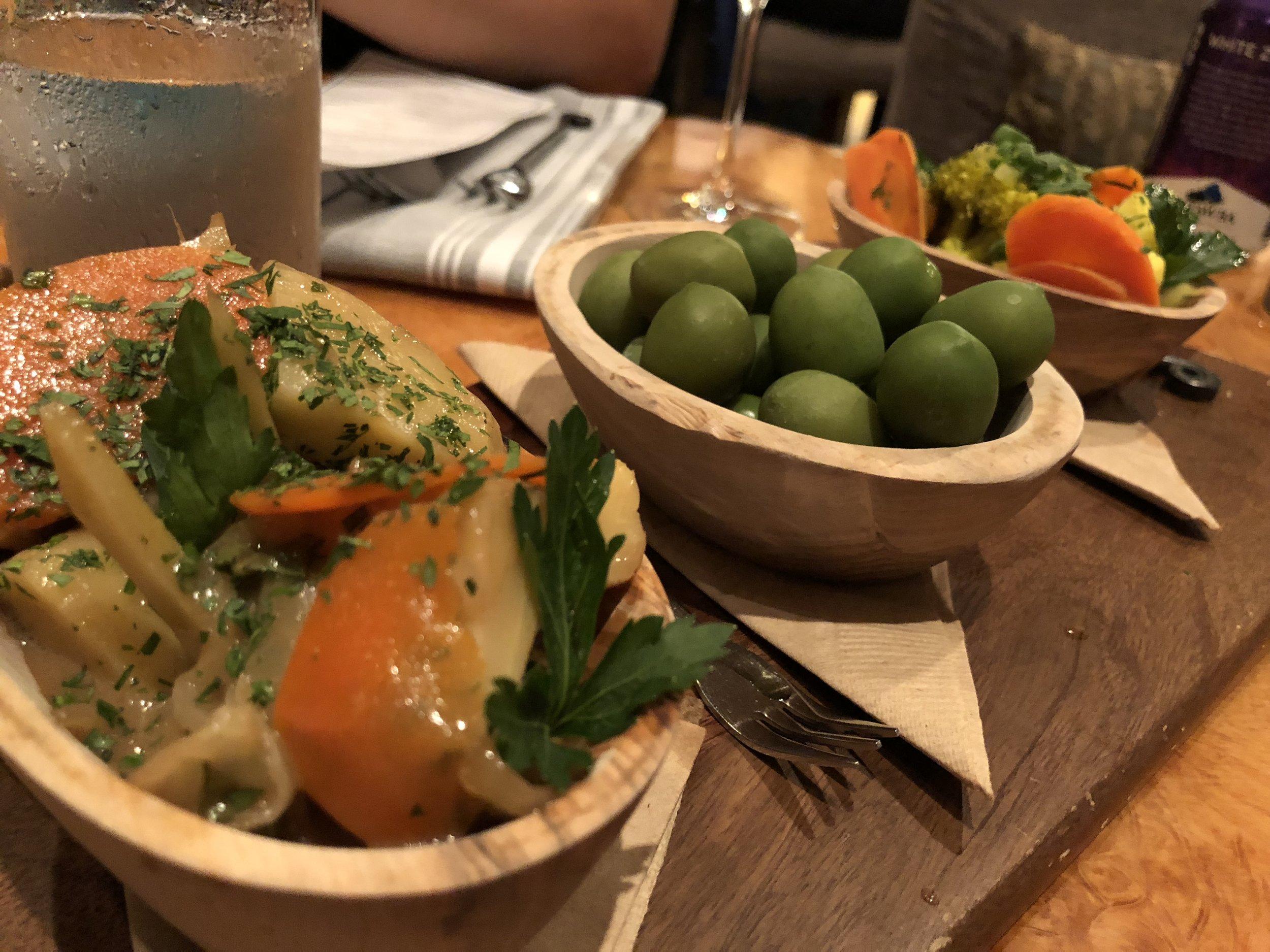 Jardiniere Vegetables, Castelvetrano olives, artichokes barigoule -