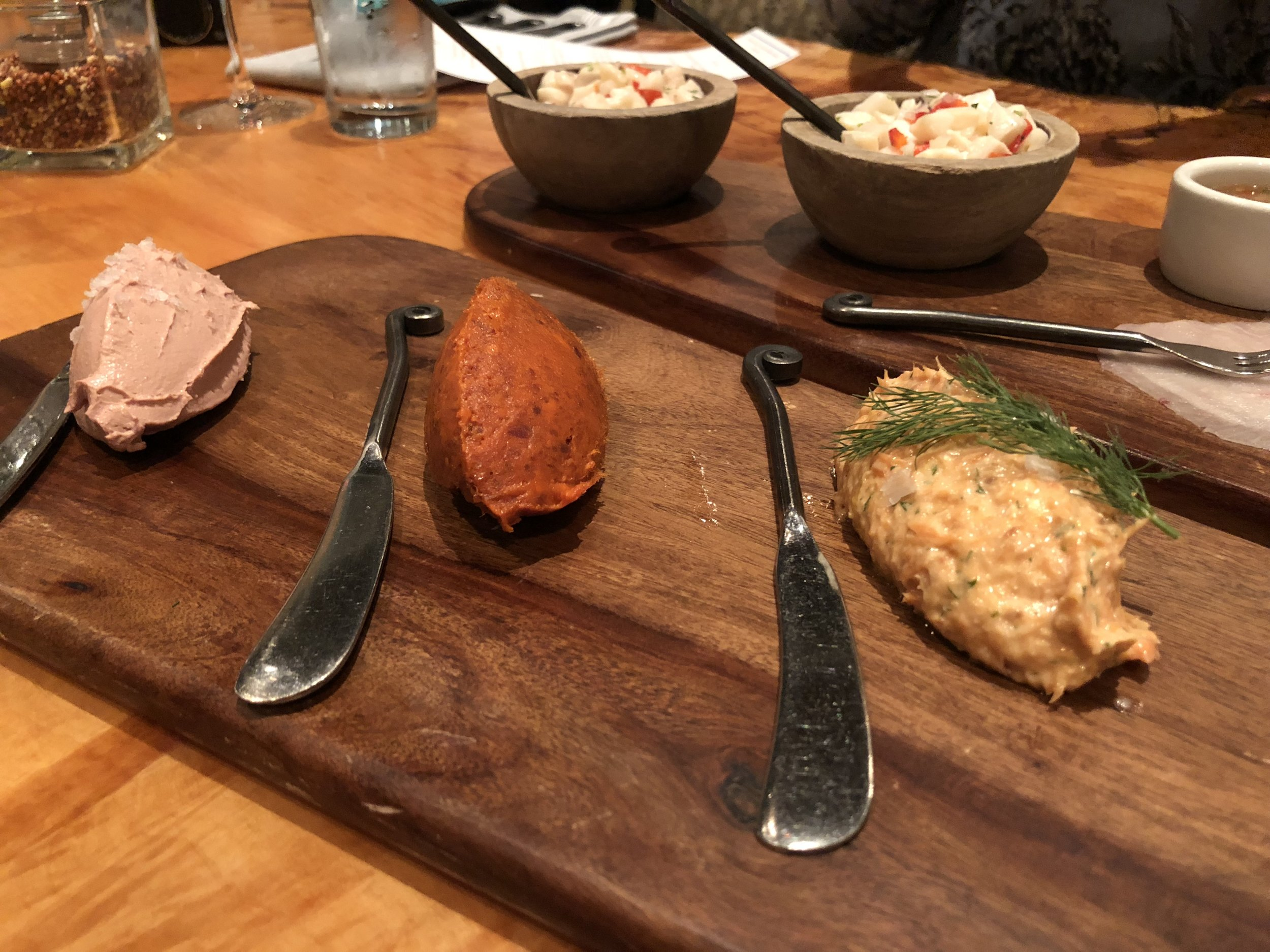 Chicken liver pate, n'duja, smoked salmon spread -