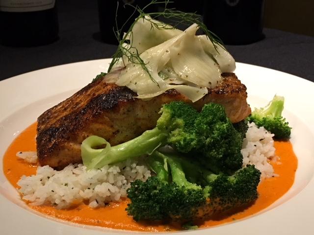 Salmon Romesco - bronzed gulf of Maine salmon, romesco (red pepper) sauce, herbed jasmine rice, julienne vegetables, citrus fennel slaw