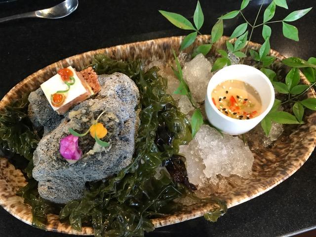 Snacks - Seaweed tempurasweet potato cream, squid fermented in beetroot, lime gelSushi rice cracker, avocado, trout belly, ponzu gelAji negro chawanmushi