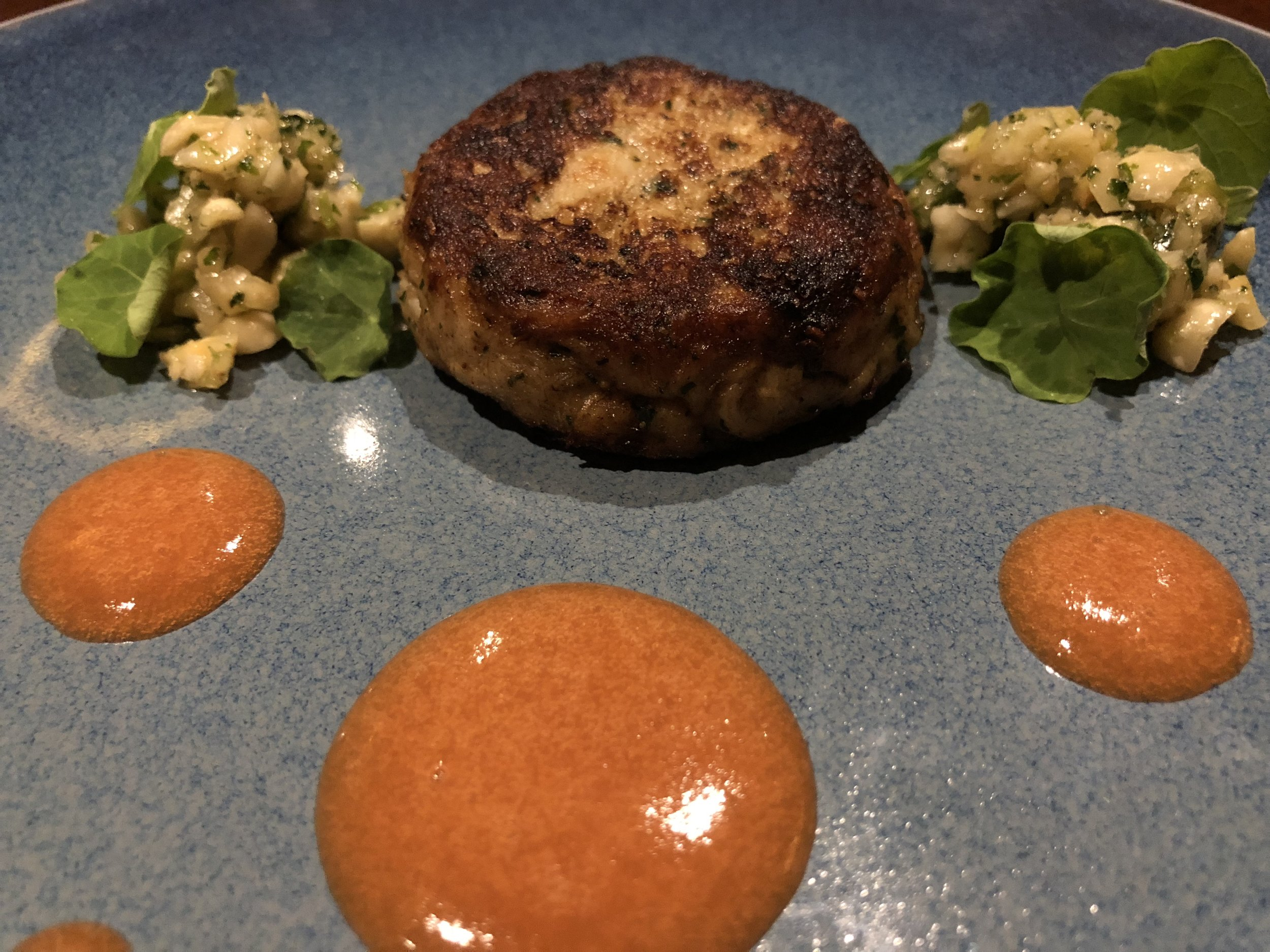 Crab Cake - scallop mousseline, lump crab, mache, blood orange, nasturtium crumble