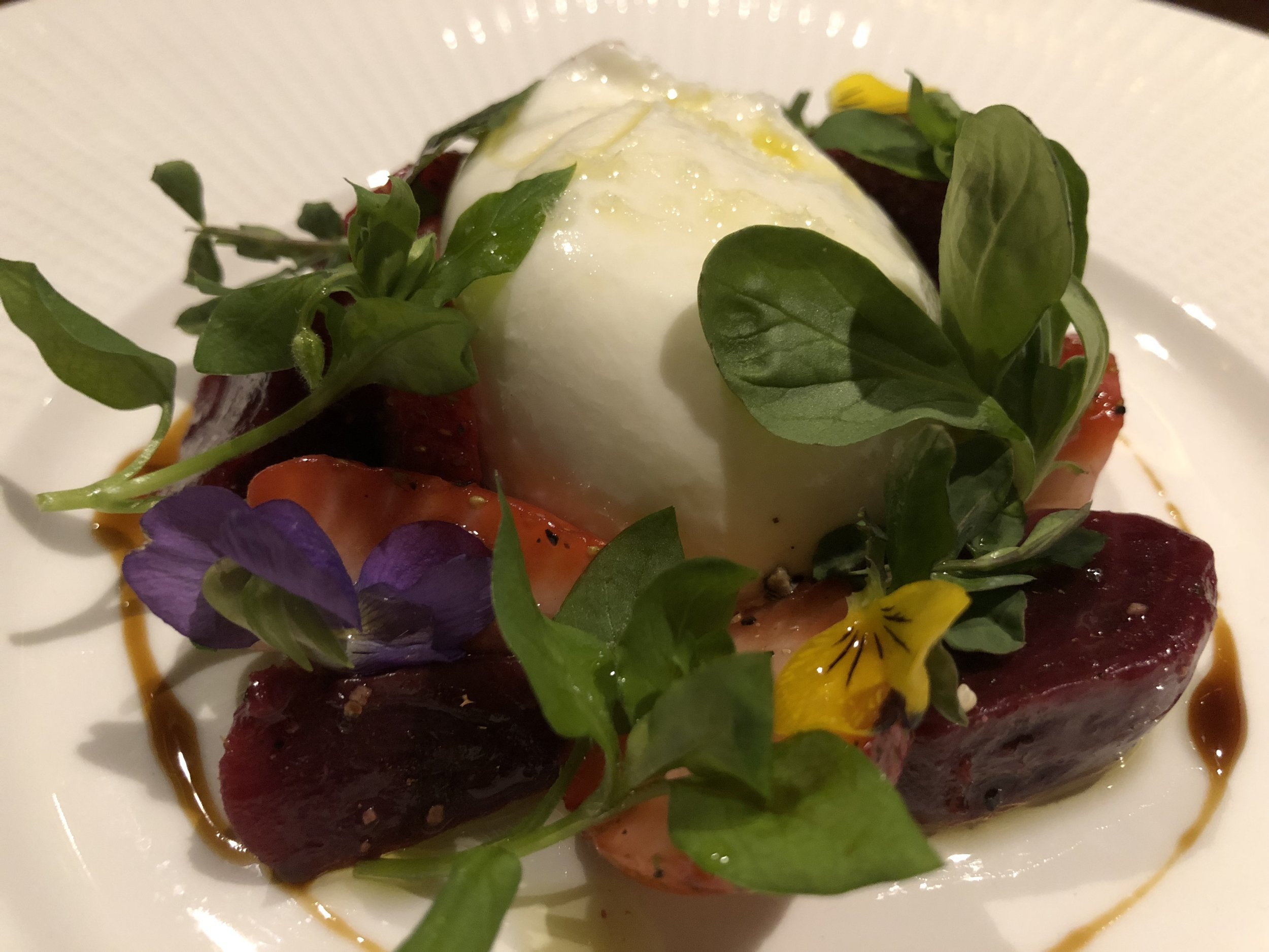 Burrata - strawberry, roasted beet, arugula, black pepper, pedro ximenez sherry vinegar, black garlic molassses, crustini