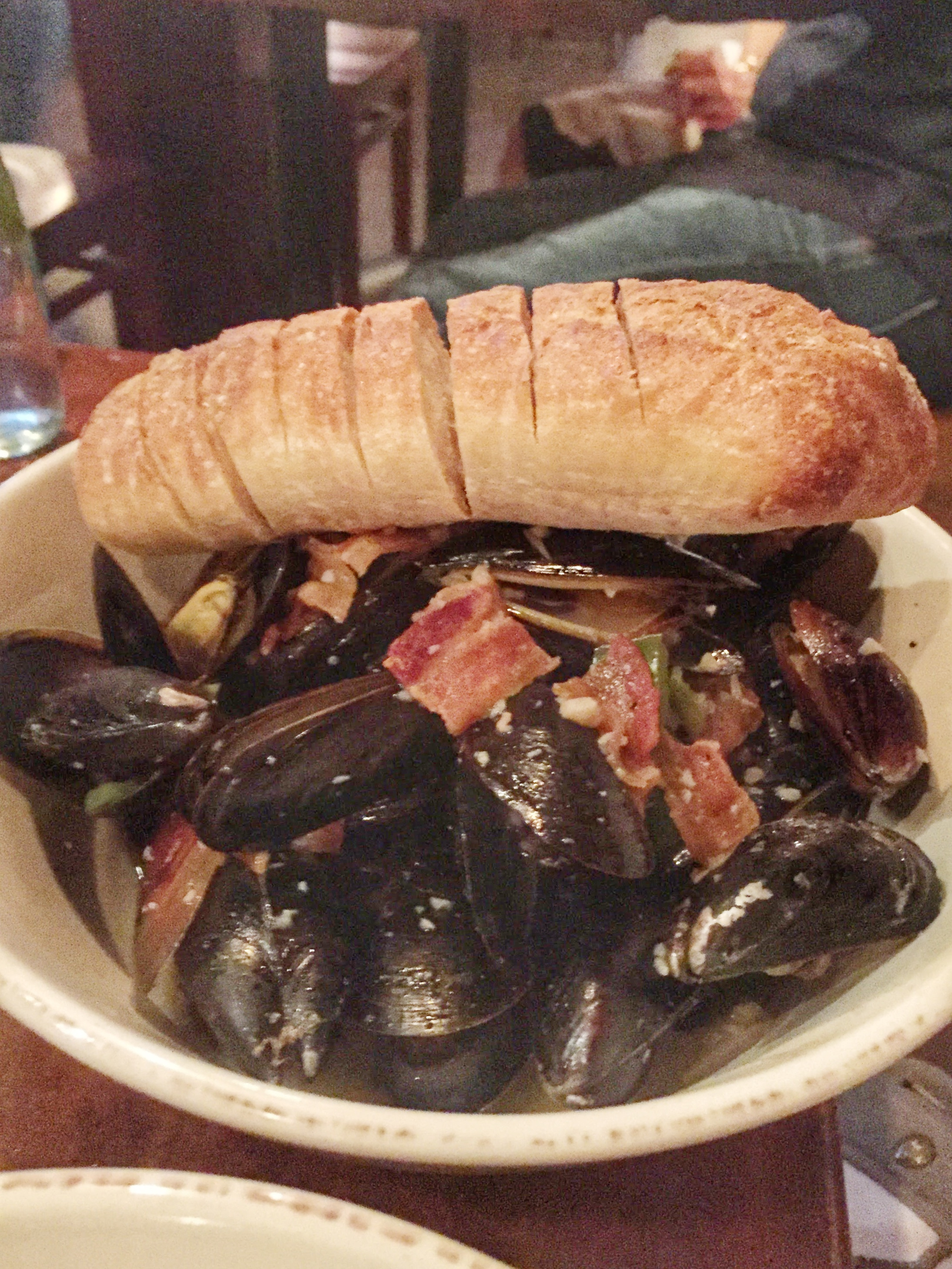 P.E.I. MUSSELS - bacon, caramelized onions, shallots, apples, cider cream