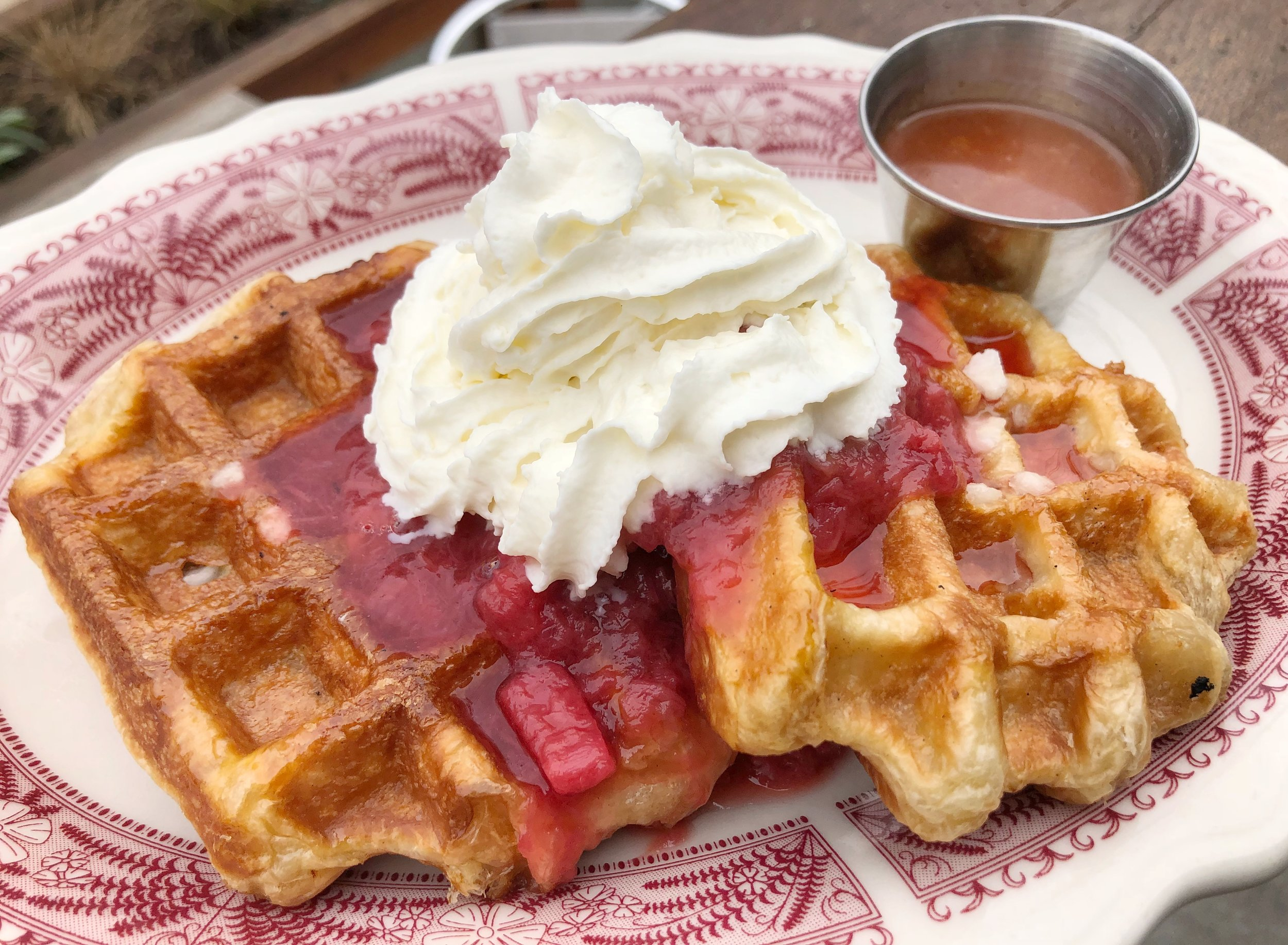 Waffles with Fruit - two waffles, fruit compote, whip