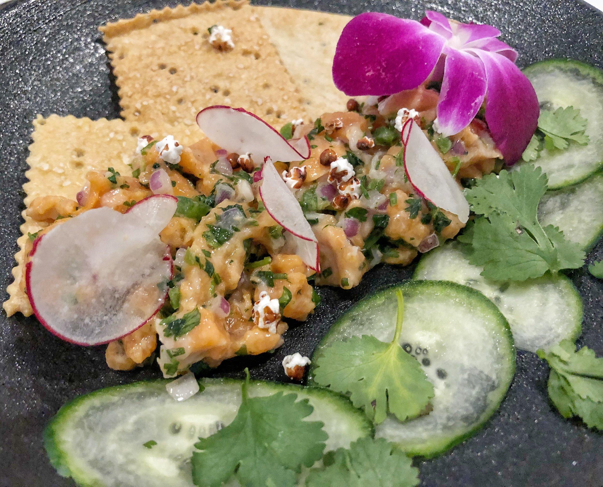 Arctic Char Ceviche - cukes, radish, cilantro, popped sorghum