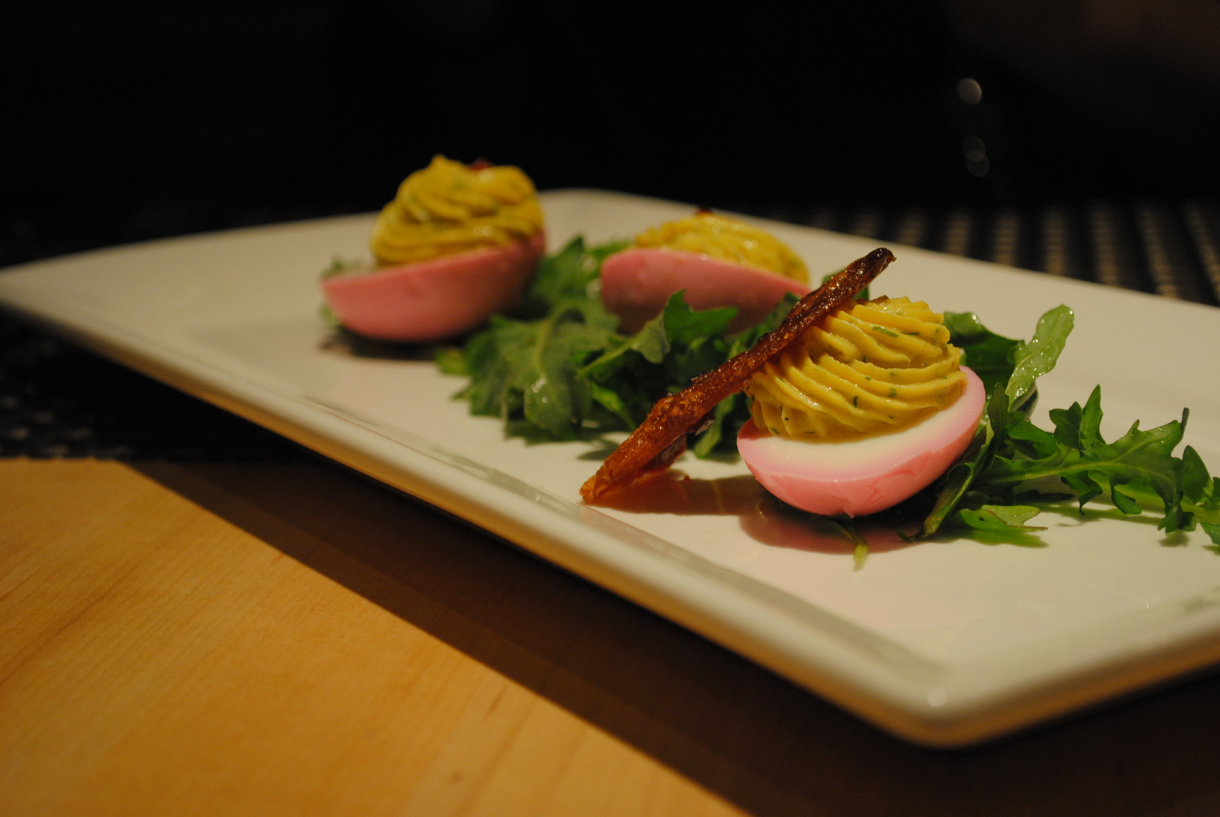 Pickled Farm Deviled Eggs - beet pickled eggs, Benton's candied bacon