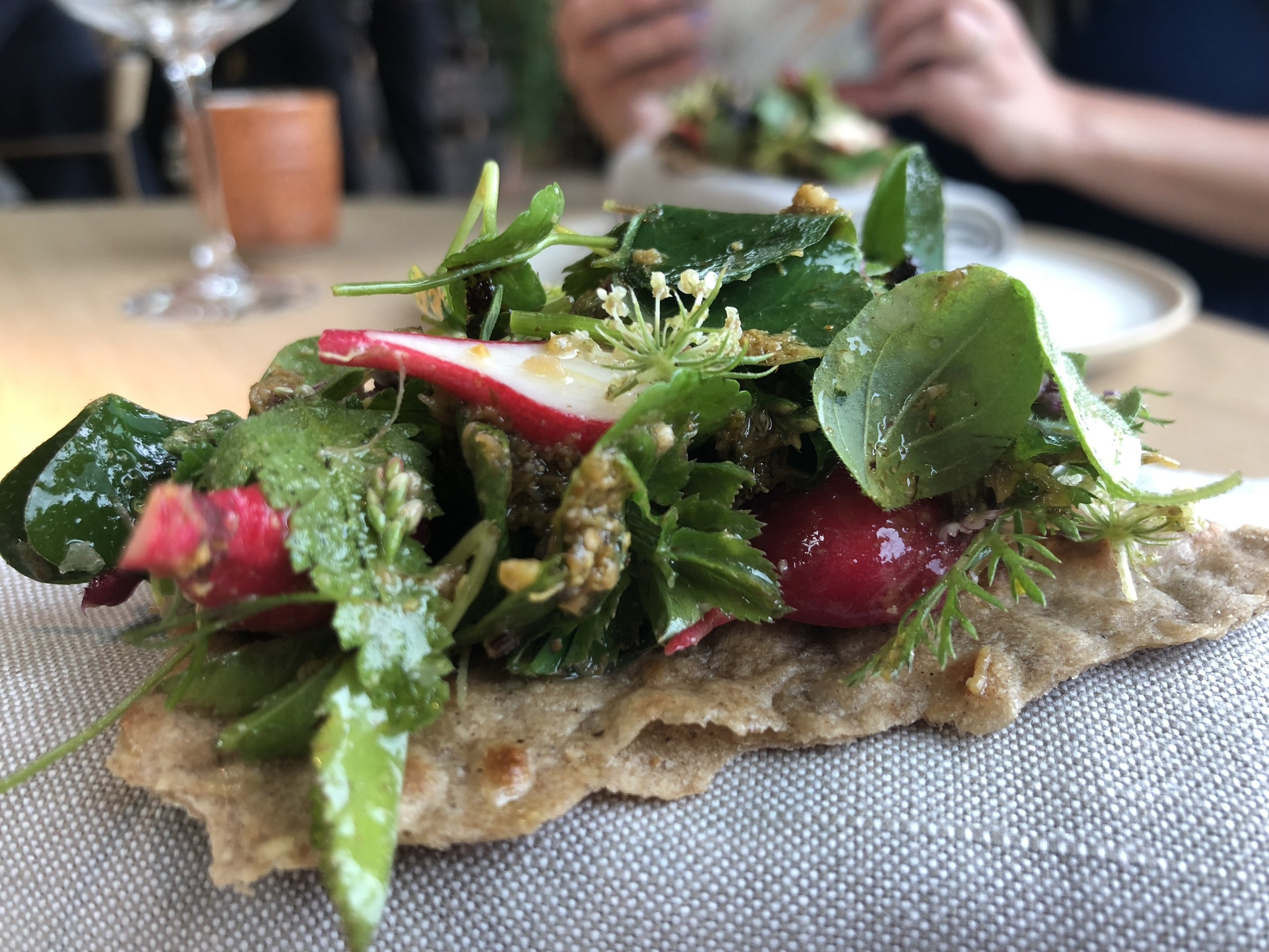 Umami Flatbread - This dish was special because it looked so simple, yet had maybe the most complex flavor of the night. The mustard greens and a chili spice that the team had brought back from their trip to Tulum both added a nice kick to the cracker, radishes, and fruit. Umami to the max.