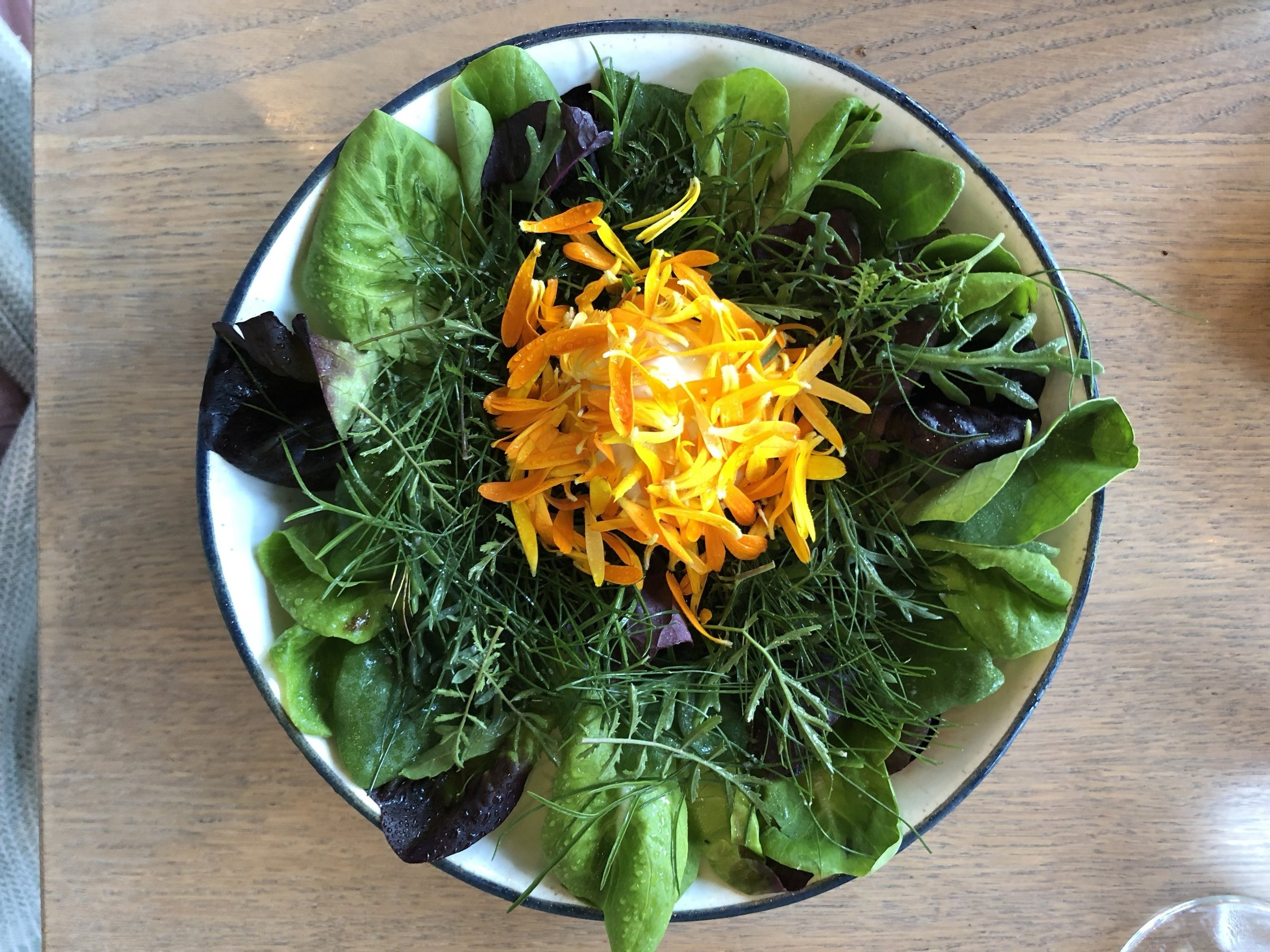Greens & Herbs from Krogerup - with roasted seaweedThe summeriest of summer salads. All of the ingredients were picks from 108's farm that day. The middle contained an almond oil sorbet, which was mind-bowing. A huge upgrade from the crap flower bucket we had the previous year.