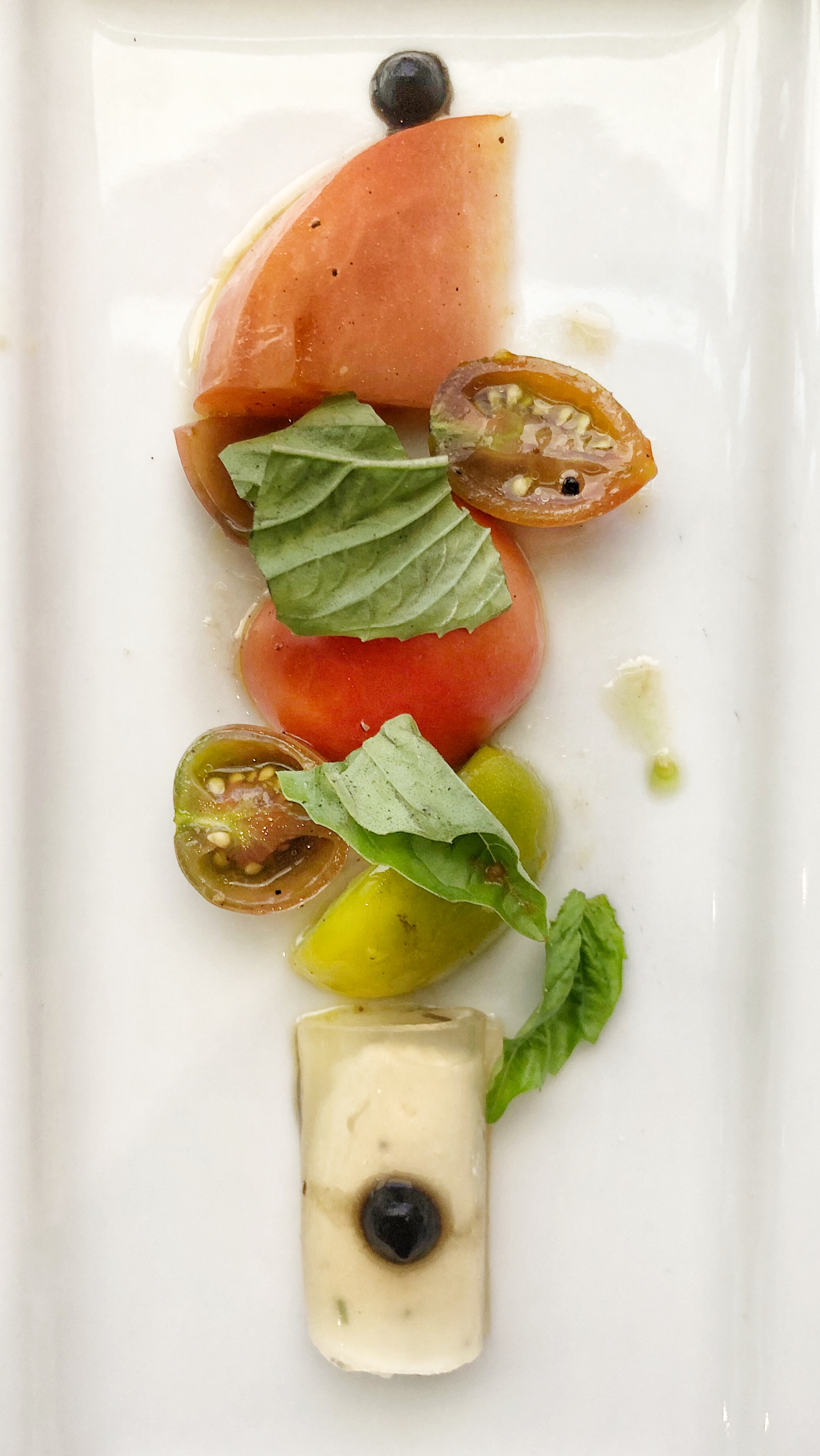 Heirloom Tomato Salad - tomato cannellini, black tomato sauce, basilThe cannellini was made with a tomato gel instead of pasta--so cool!