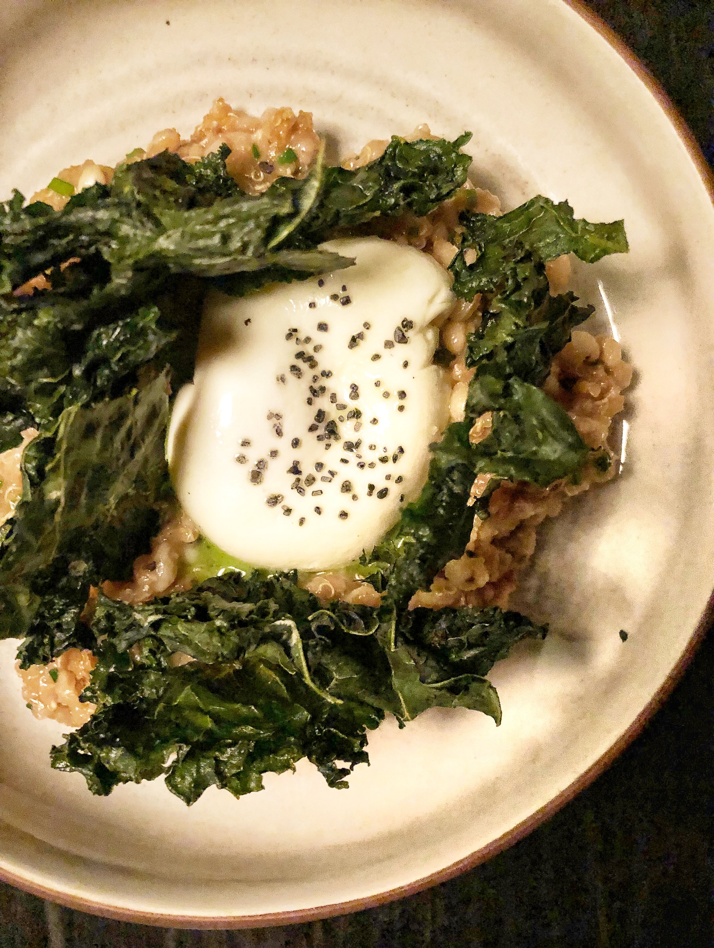 egg and grains - poached egg, kale, escabechePer Whiteside, this is the most underrated dish on the menu, and I'm sure most people don't order it because it doesn't contain a meat and doesn't sound sexy. Well let me tell you people, this dish is as sexy as it gets. Mix the grains in with the poached egg and take a wild euphoric ride on a rainbow of flavor.