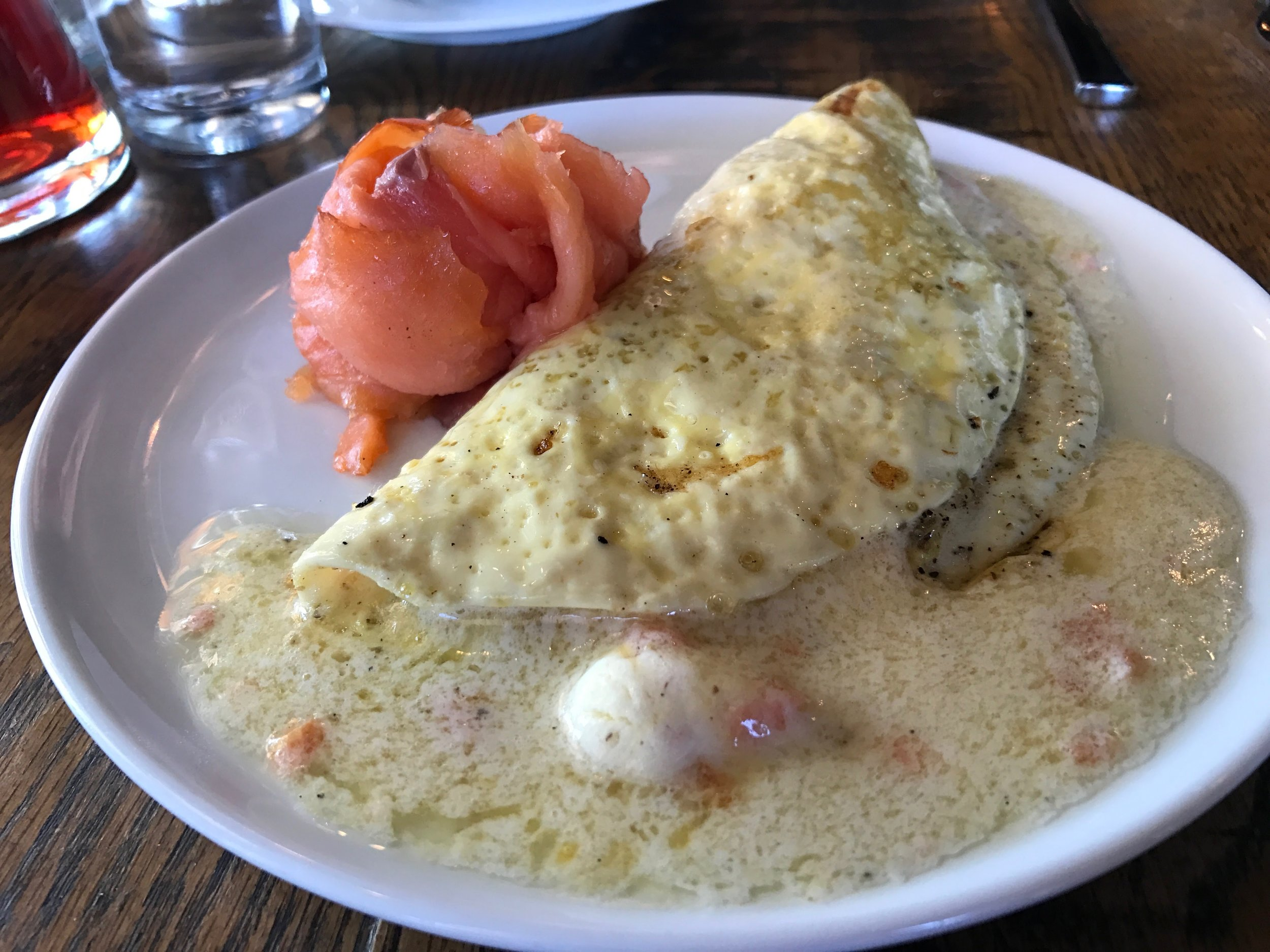 Omelette - With loxOmelettes are not ever a favorite of ours at littleSpoon. They typically lack salt and pepper, though they are cooked beautifully—light and fluffy. What a shame, because typically cooking an omelette properly is the hardest part, and they've got that down.