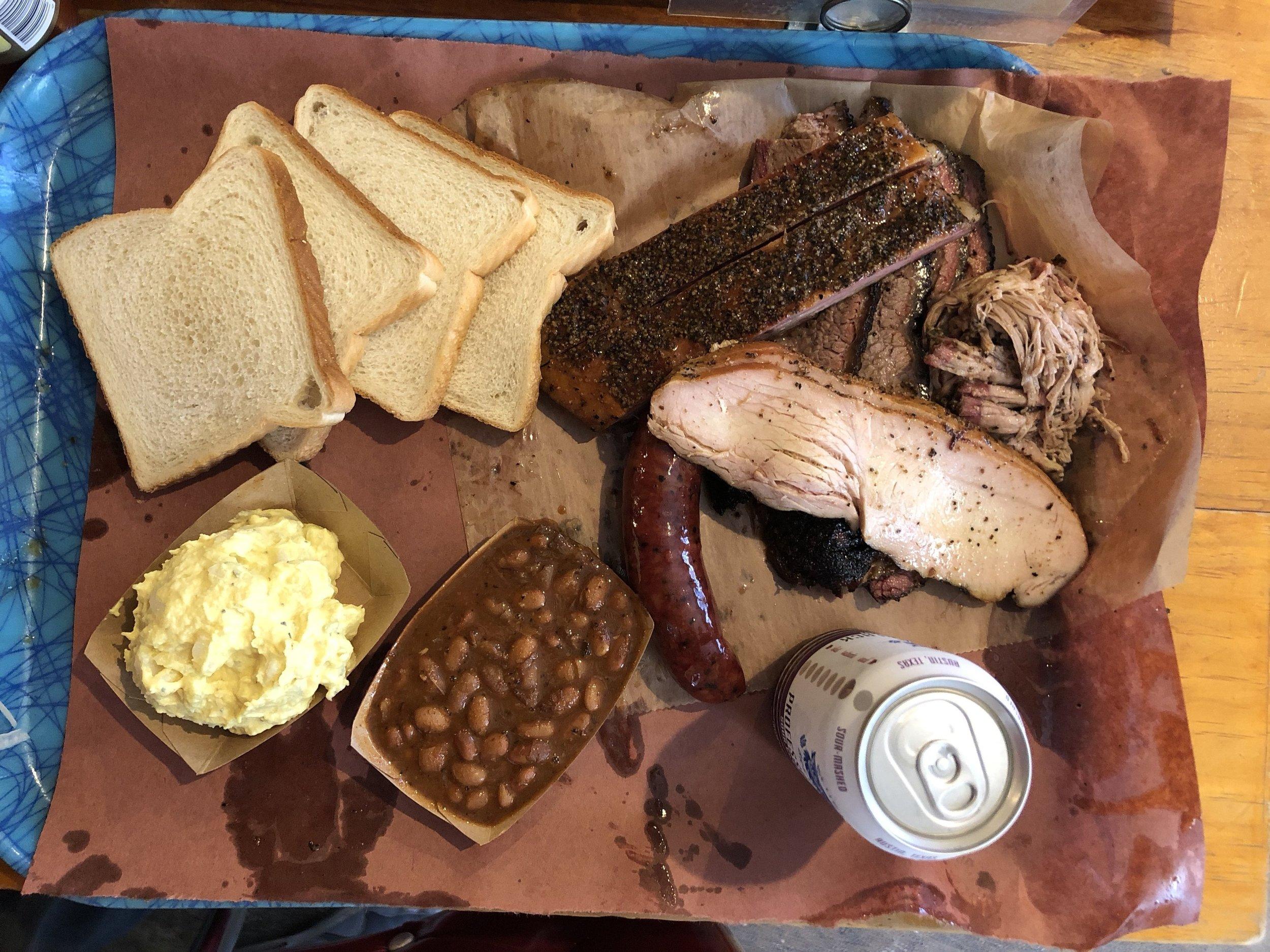 Spread at Franklin BBQ in Austin, TX