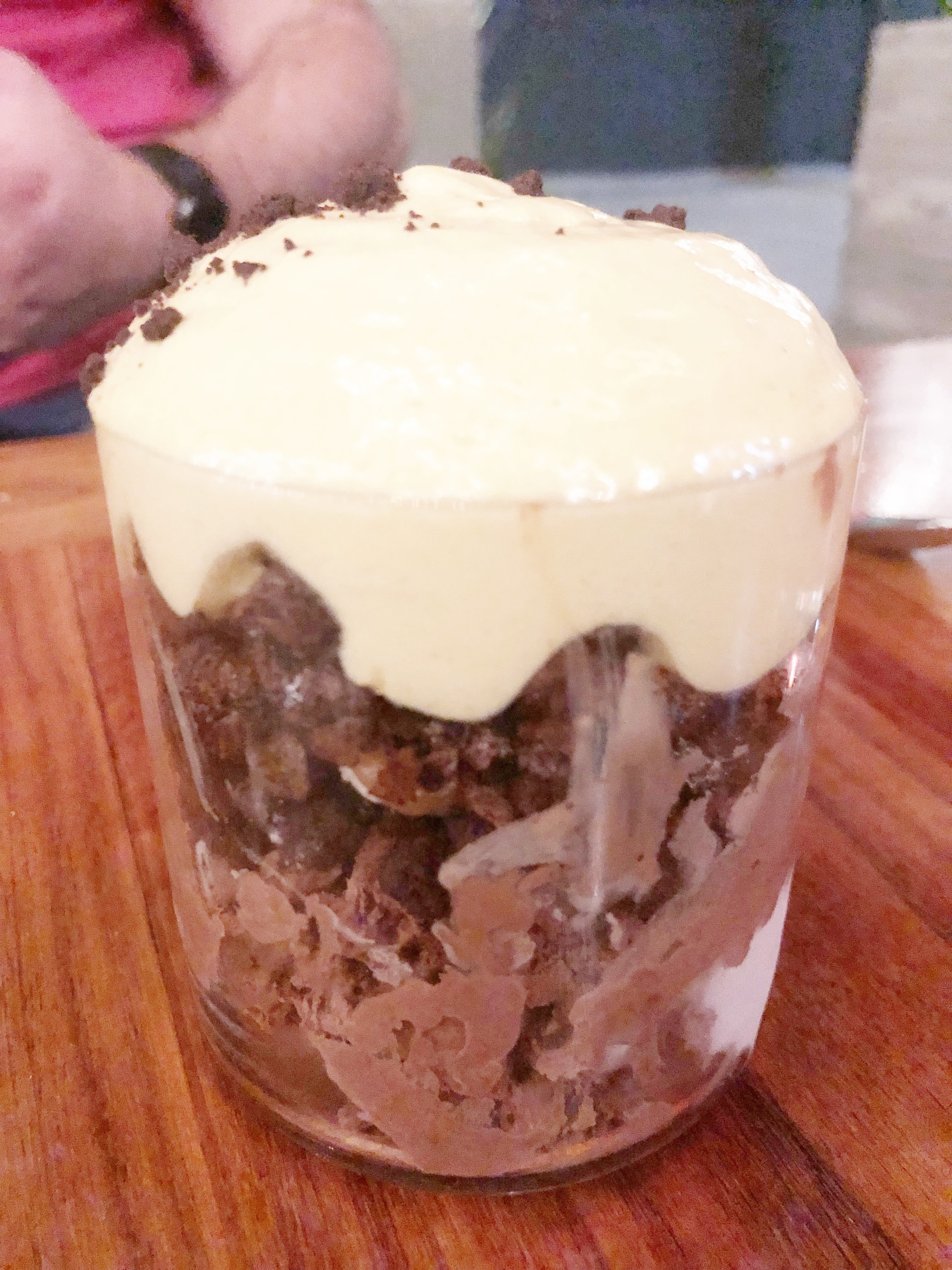 Banana/Chocolate Pudding - This thing had more layers than Pete Davidson/Ariana Grande's relationship. Chocolate pudding, banana mouse, chocolate cake bits. If we weren't extremely full (and hadn't already ordered another dessert), we probably would have had two of these.