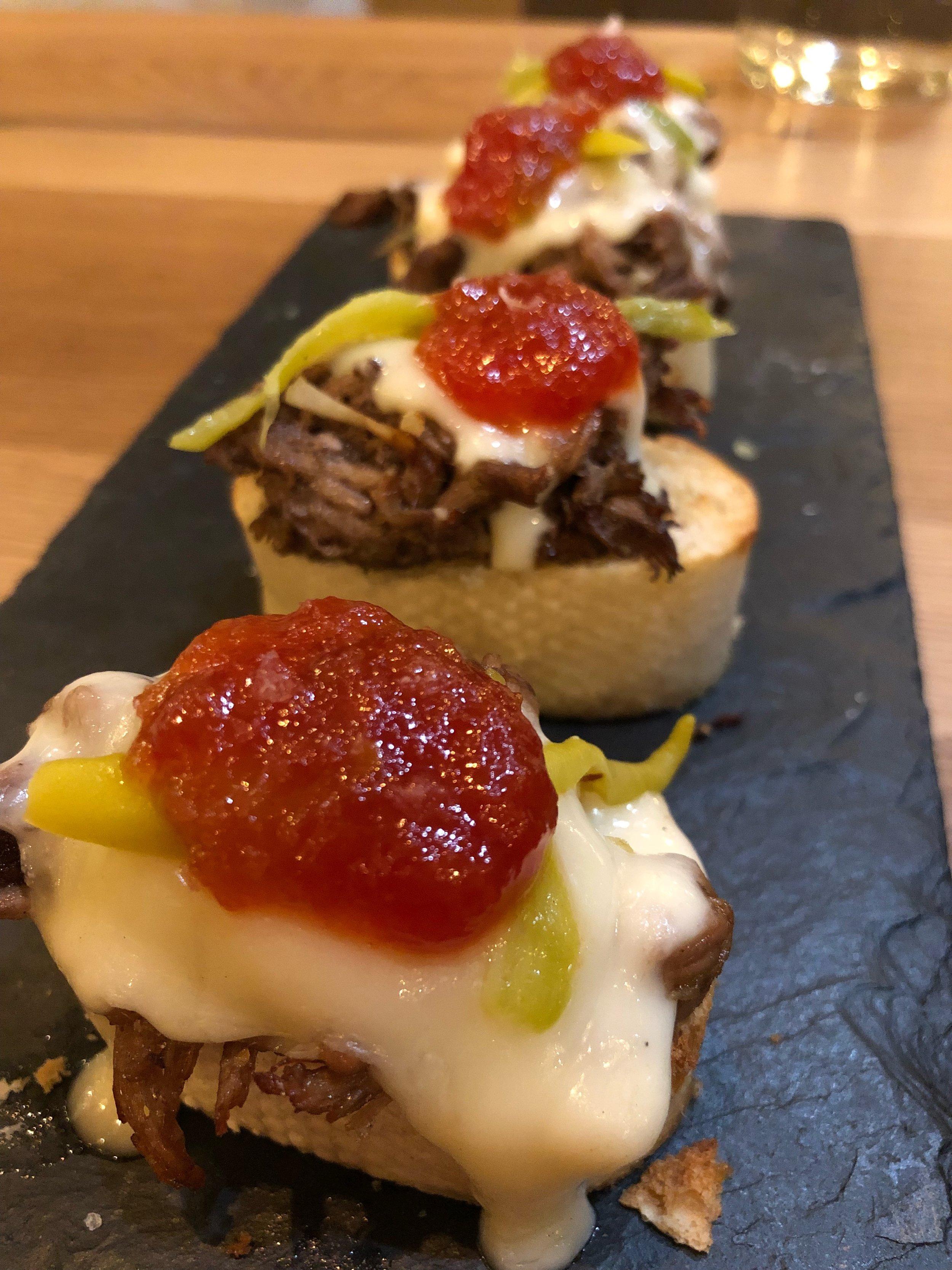 MONTADITOS - Brisket, tomato marmalade, guindilla, tetilla cheeseSuper delicious little bites. We would order these again.