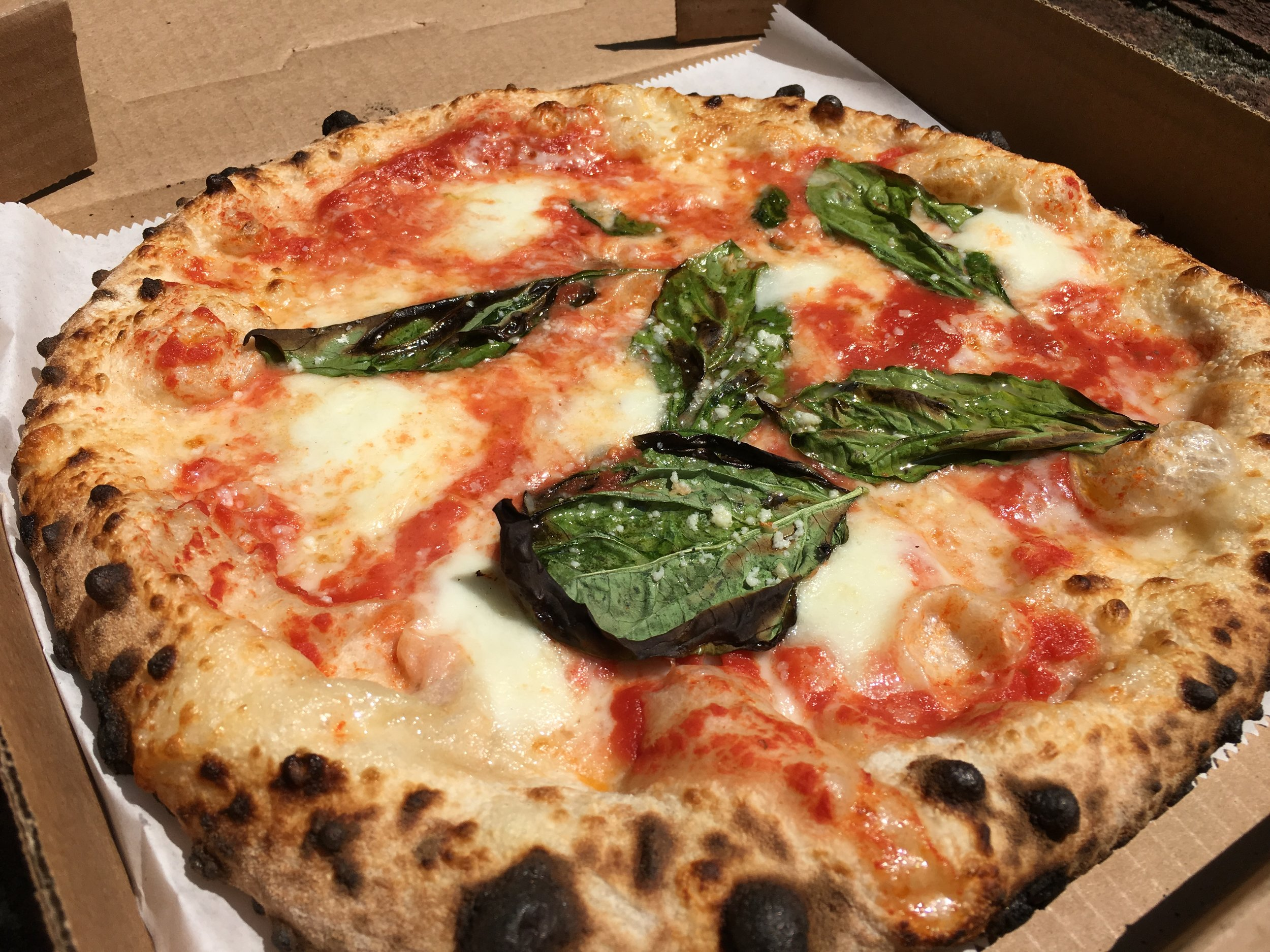 MARGHERITA - San Marzano tomato sauce, Buffalo Mozzarella, basil, garlic, Pecorino