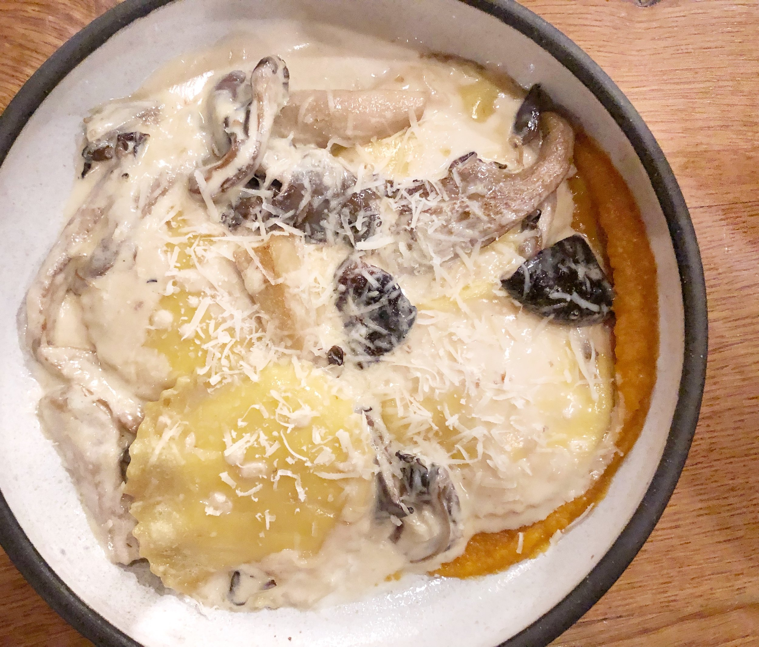 Ricotta Stuffed Ravioli - With mushrooms & squashLittle pillows of flavor perfection. The sweet squash purée added such a lovely dimension to the mushrooms and cream sauce.