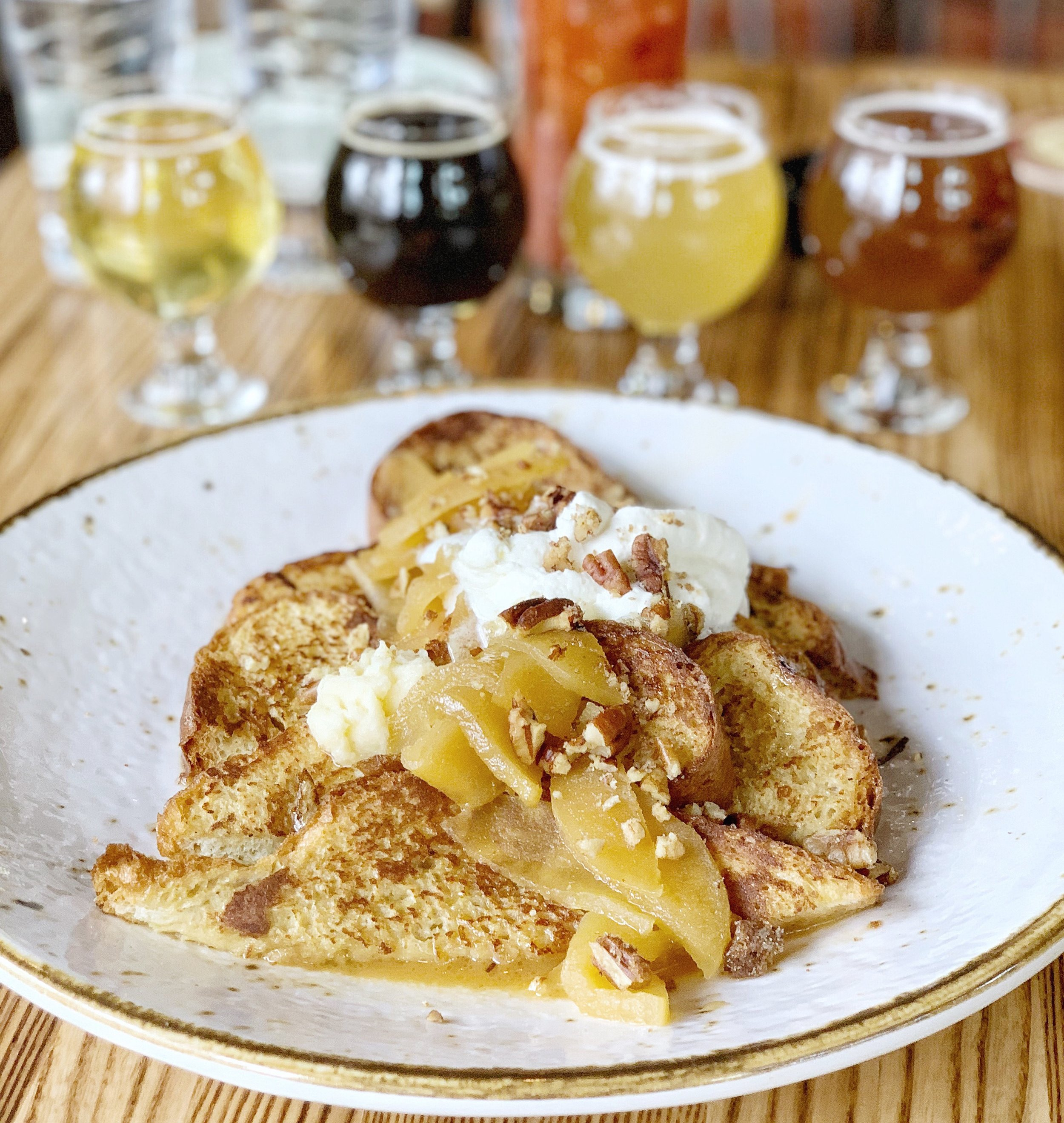 Caramel APple French toast - Caramel apples, toasted pecans, whipped cream, honey butter, & maple syrupThat's right: I put French toast under dessert. Because I eat dessert after breakfast, brunch, lunch, elevensies – you name it. I would also just order this on its own, too. In fact, this was my favorite dish of the tasting. FIGHT ME, JASON. Just kidding, he liked it also and we are getting along just fine, thanks for asking.