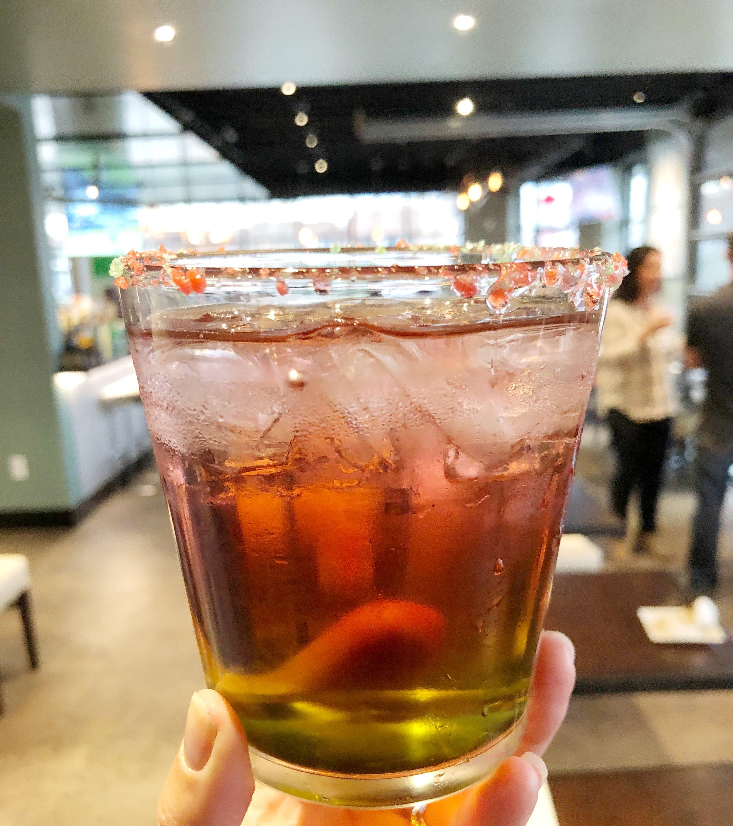 "Yume Masa - AKA ""Dreams Come True""Vodka, plum rosé, melon Japanese soda, and cranberry juice. Lined with pop rocks."