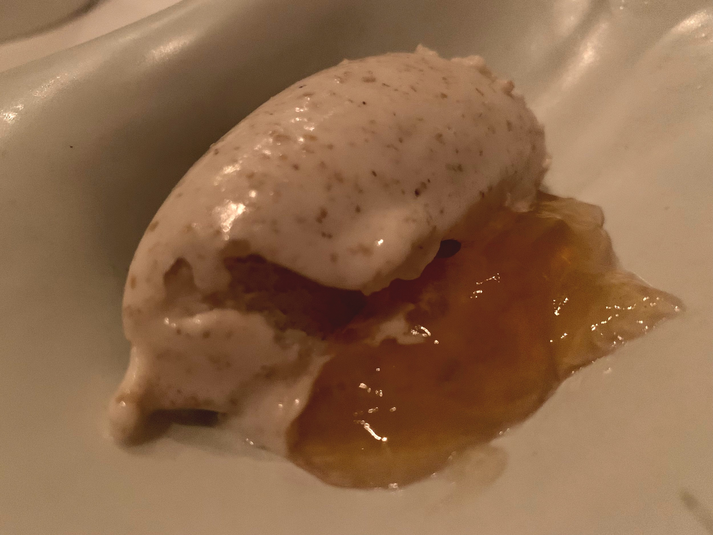 The Stages of Maple Sap Reduction - Dessert time. Maple ice cream with a fermented maple jelly. Yvonne loved this one, but I didn't care for it. To each their own.