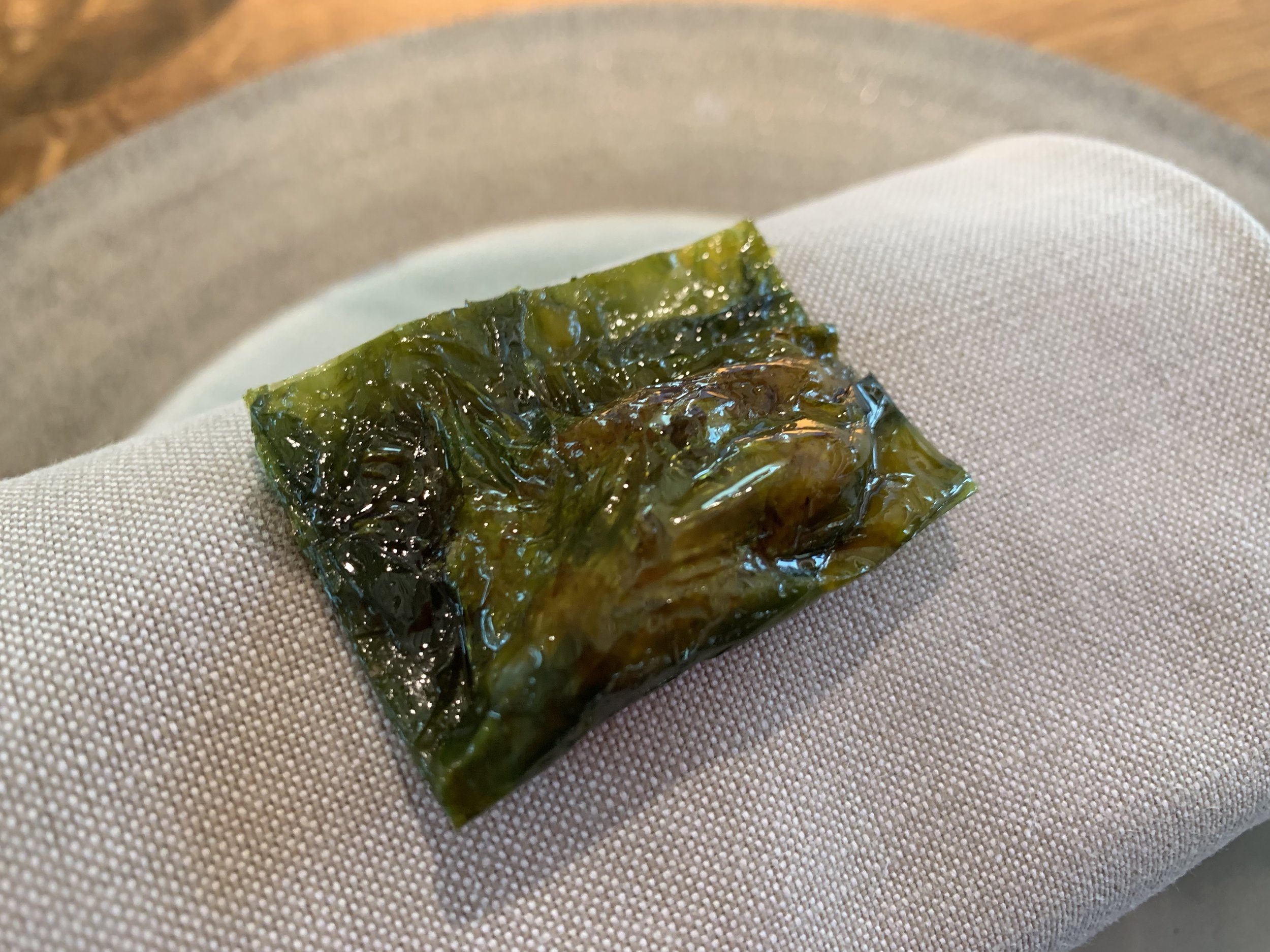 Grey Shrimp Cooked with sea Lettuce - This was described as a lettuce ravioli, and it was one of the best bites of the night. A danish shrimp ravioli.