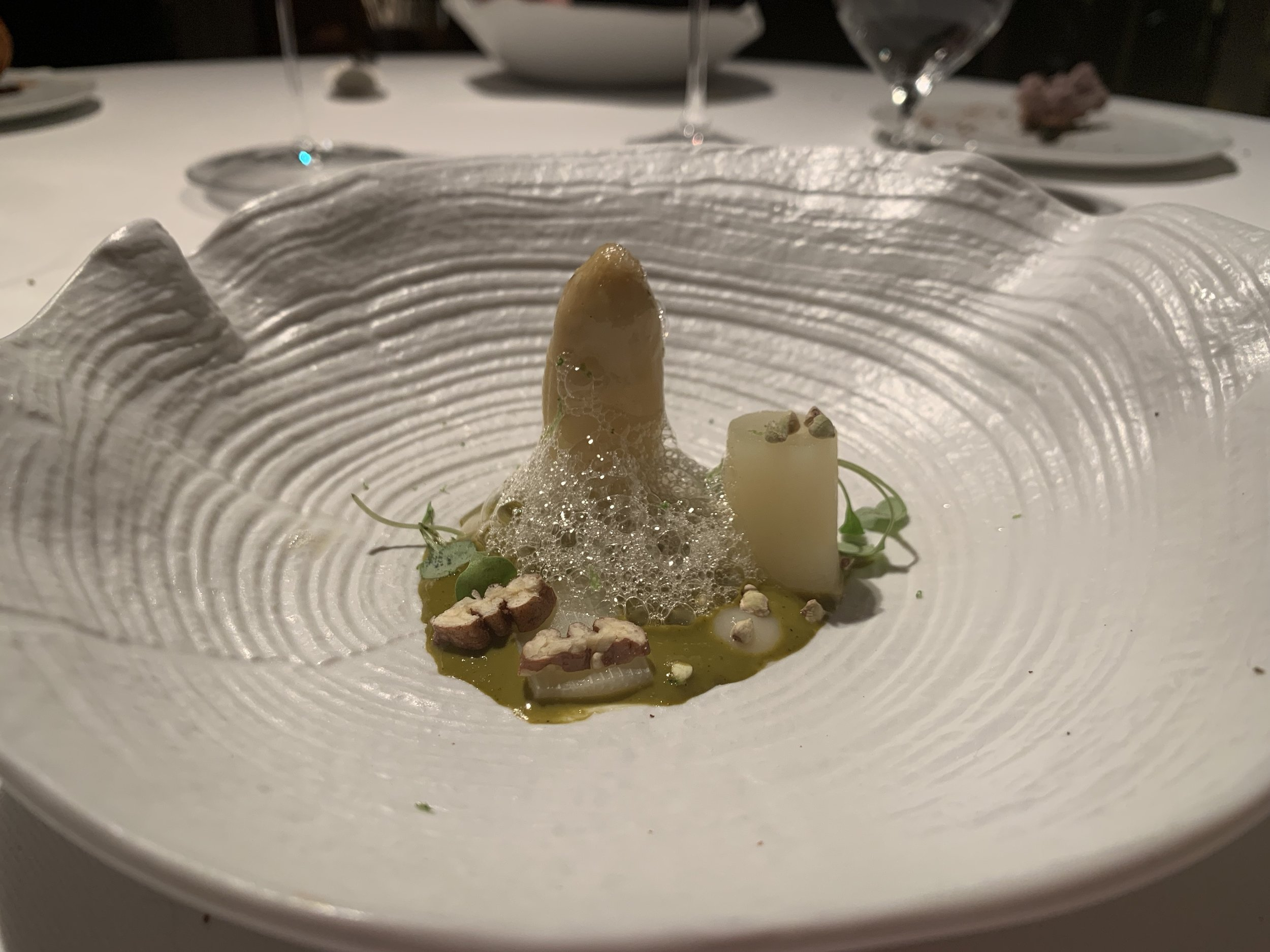 White asparagus with sea anemone - This is literally the most phallic dish we've ever seen. It's kind of distracting in a way, especially from this angle. It is fun to eat sea anemone though - that's something you don't see on a menu every day.