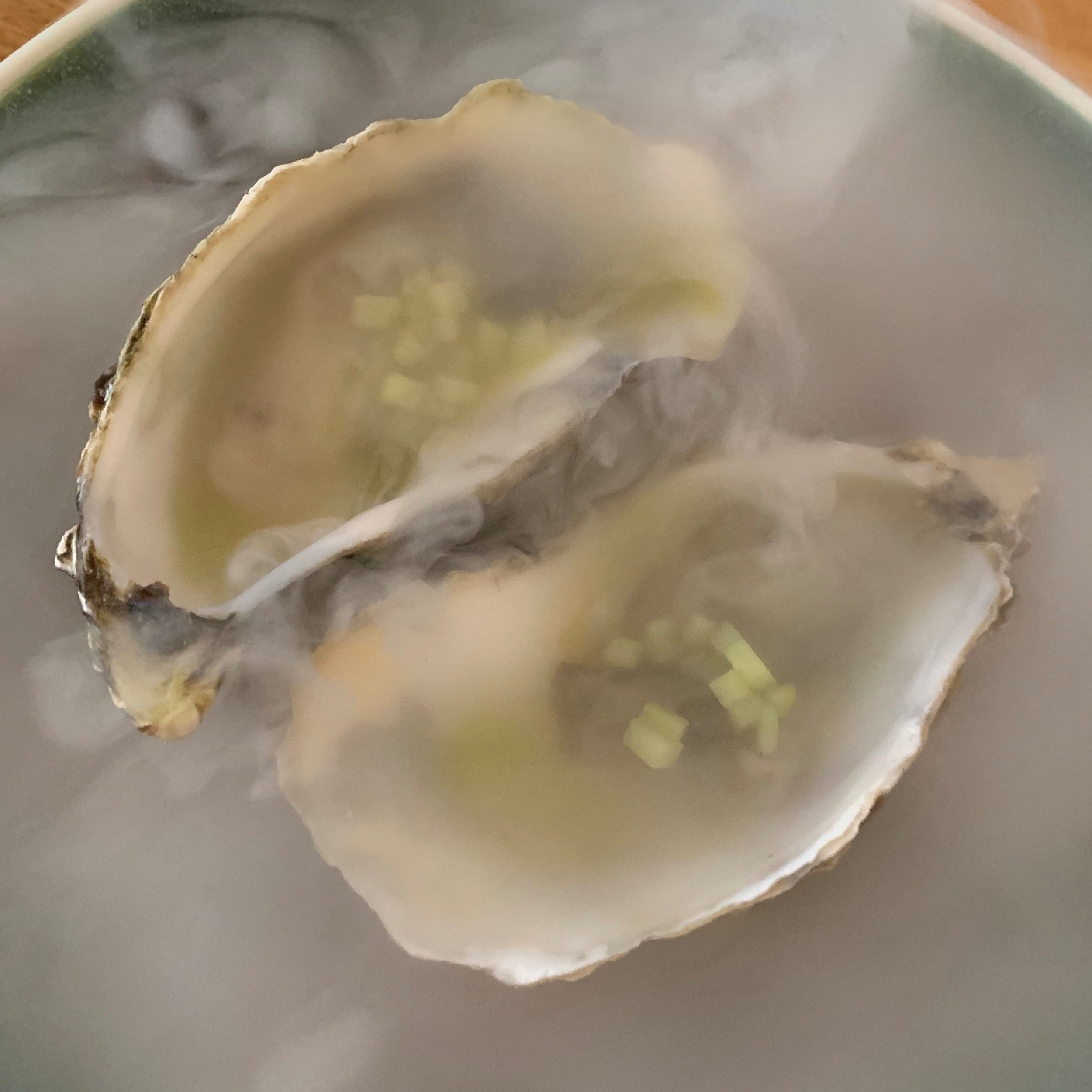 Oyster, jalapeño, & Cucumber - We knew we were at a special place when the oysters came out in dry ice. The jalapeño added a nice spicy kick to the briny oyster.