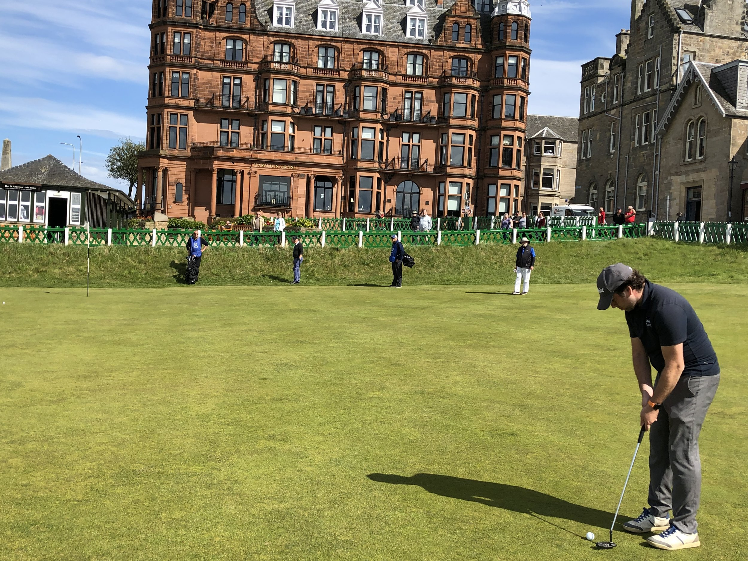 The moment before the putt: The 60 foot make on the 18th hole at the Old Course.