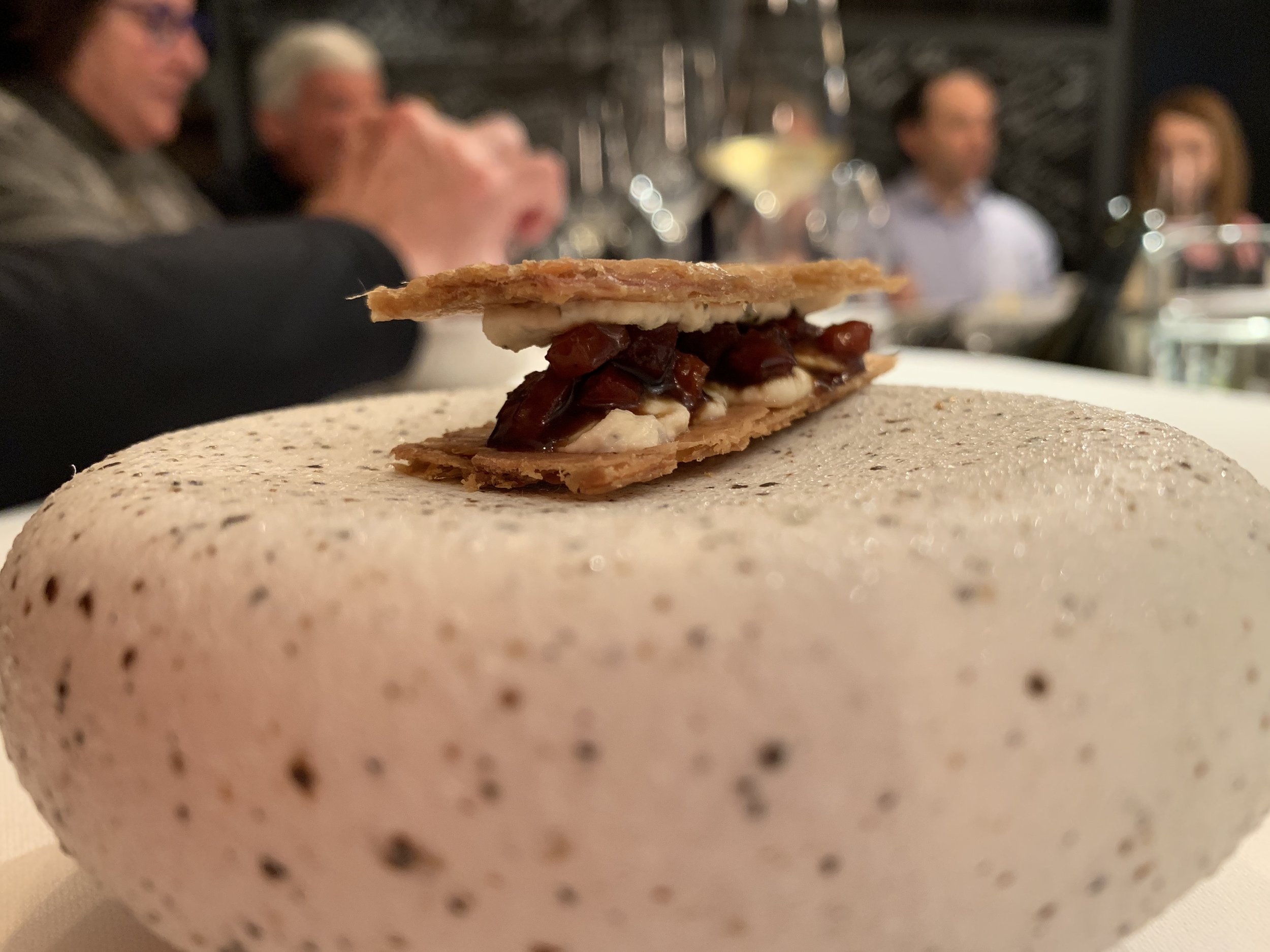 Chicken - The next snack was crispy chicken skin with rosemary-infused mascarpone and bacon jam. This was my favorite dish of the night. It reminded me of a Southern U.S. pork skin cracklin mixed with a British bacon butty.