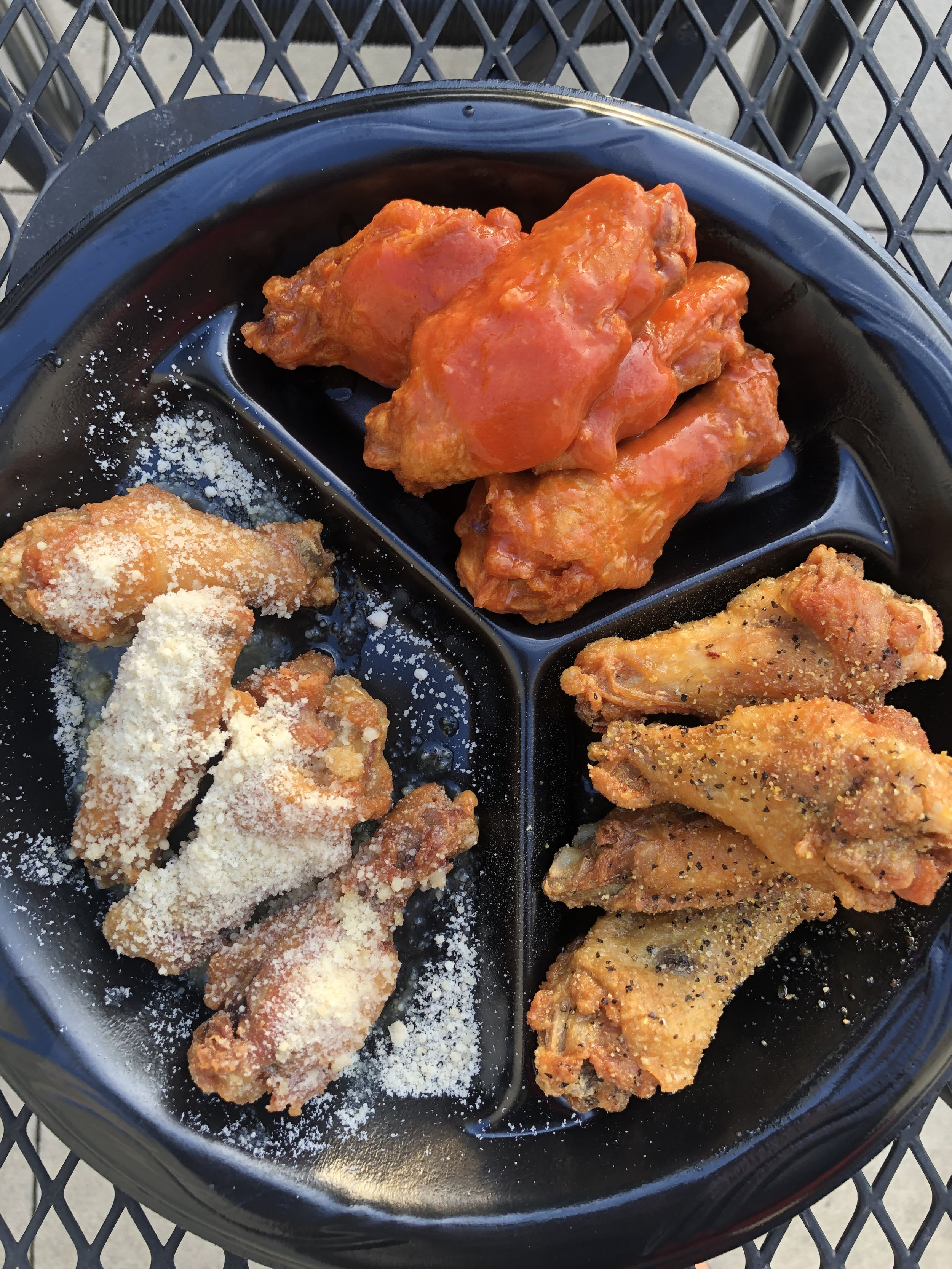 chicken Wings - You can get your chicken as wings or strips, and one of the coolest things about Flip-a-Lo's is that you can mix and match your sauces in every combination. Want 3 Buffalo Hot, 2 Teriyaki, 4 Garlic Parmesan, and 1 Honey BBQ? Want to mix Buffalo mild and BBQ on a SINGLE wing? That might be kind of a dick move, but they would have you covered. Want to dip your wings in bleu cheese or ranch? Those are all homemade. PRAISE. Your wings come with two breadsticks, carrots & celery, or you can sub fries or another side for a small upcharge.