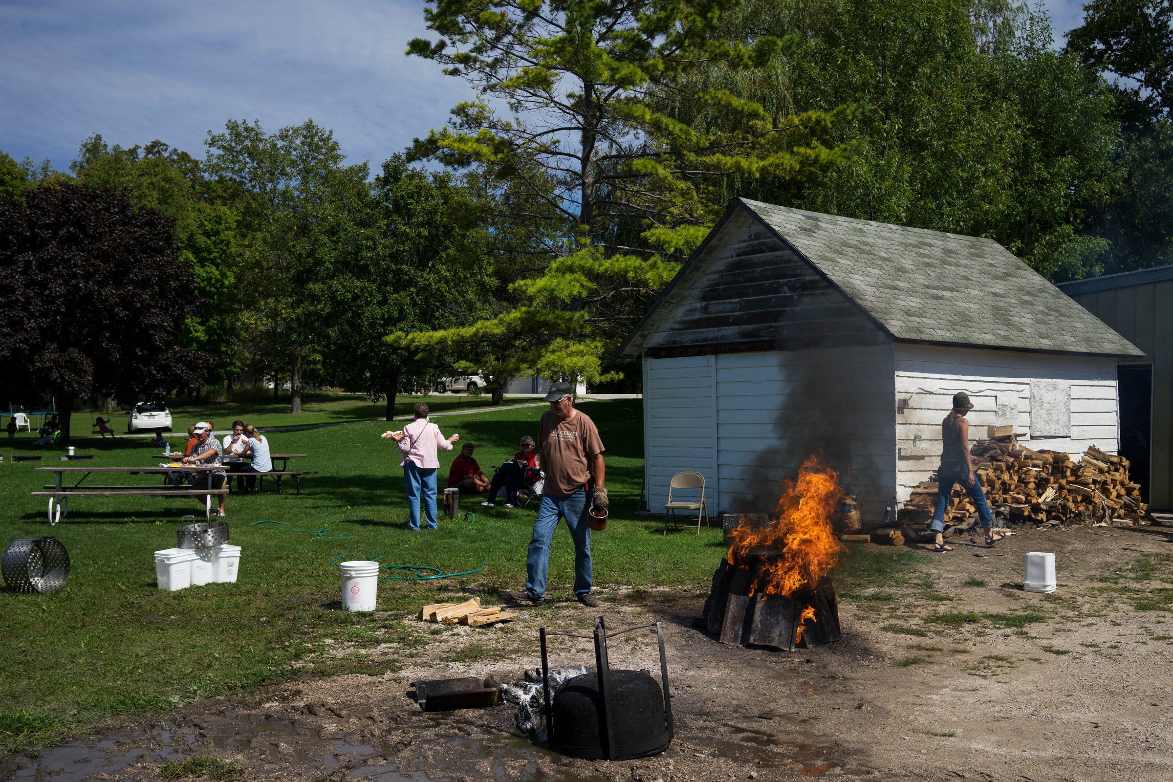 The Weborg family puts on their annual Labor Day fish boil near the family docks in Gills Rock, WI.