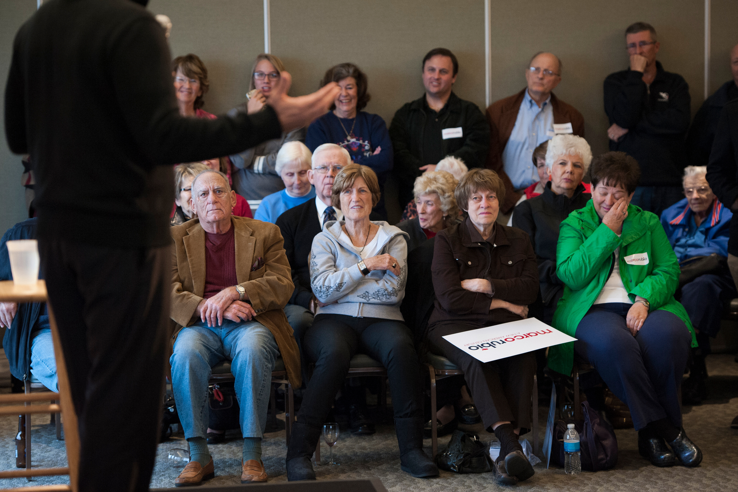 Supporters watch as Republican presidential candidate Sen. Marco Rubio speaks at event in Sioux City, Iowa.