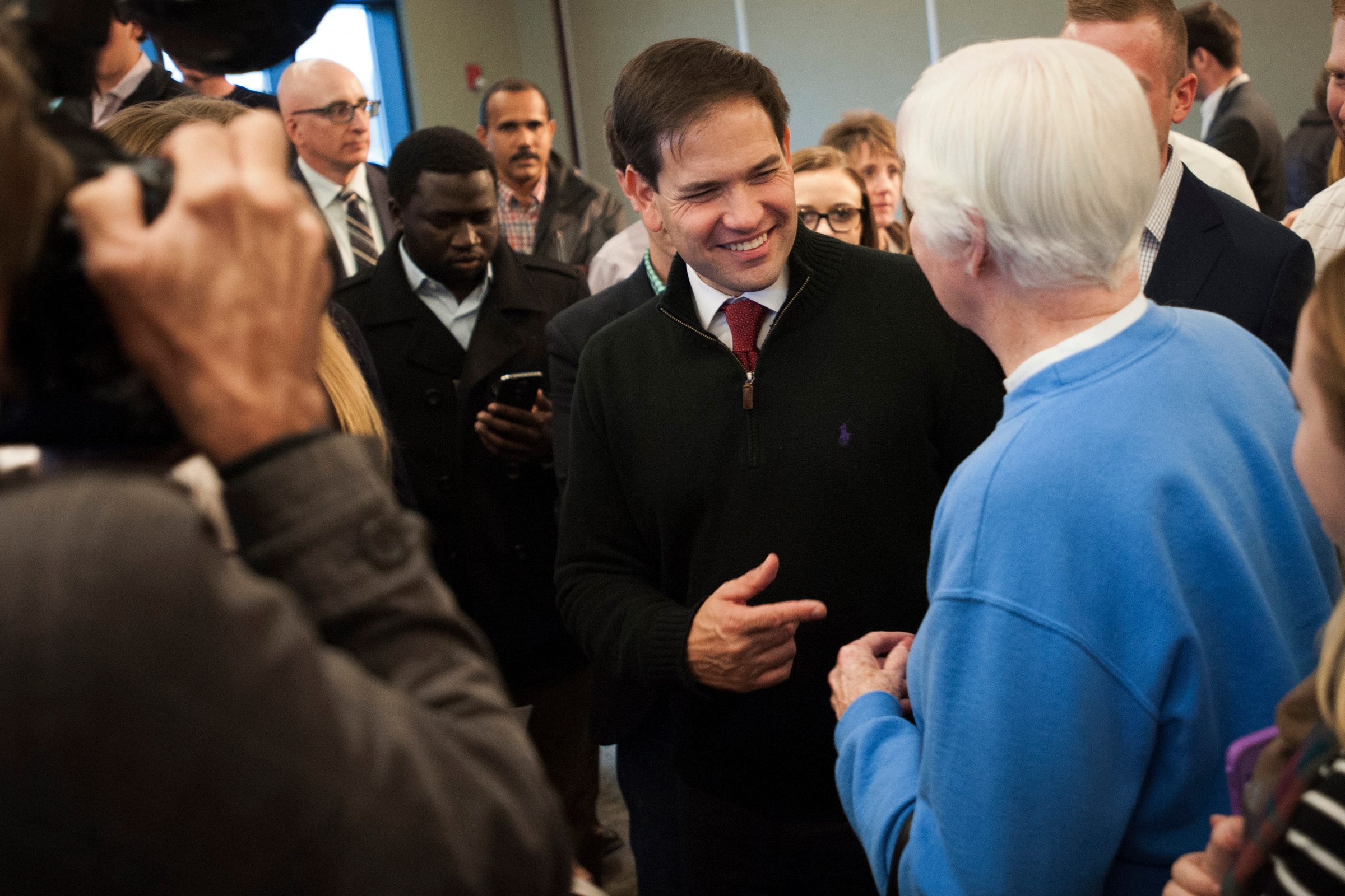 Republican presidential candidate Sen. Marco Rubio greets a supporter after speaking at an event in Sioux City, Iowa.