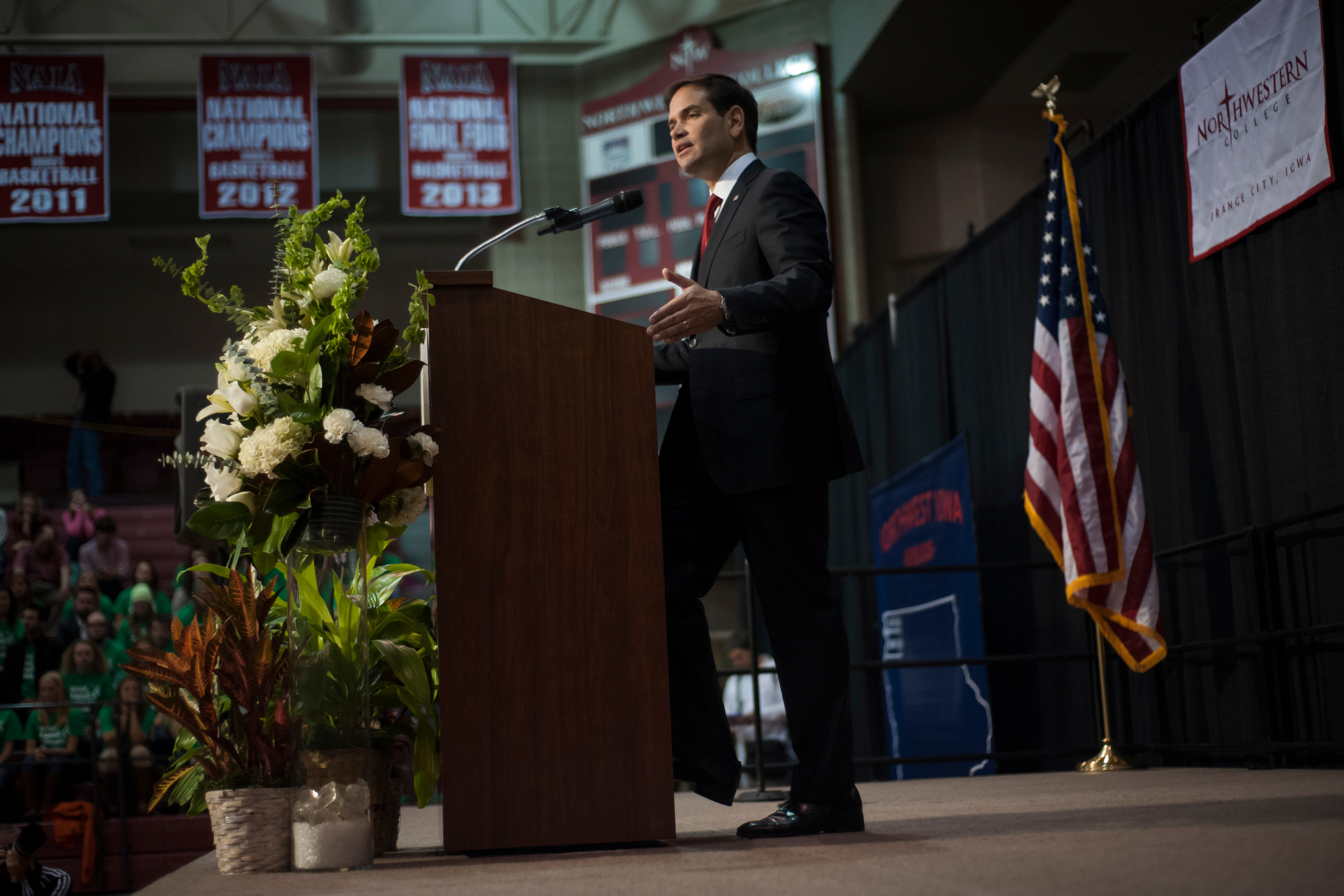 Republican presidential candidate Sen. Marco Rubio speaks to voters, the first of four candidates slated to appear at the Northwest Iowa Republican rally at Northwestern College in Orange City, Iowa.