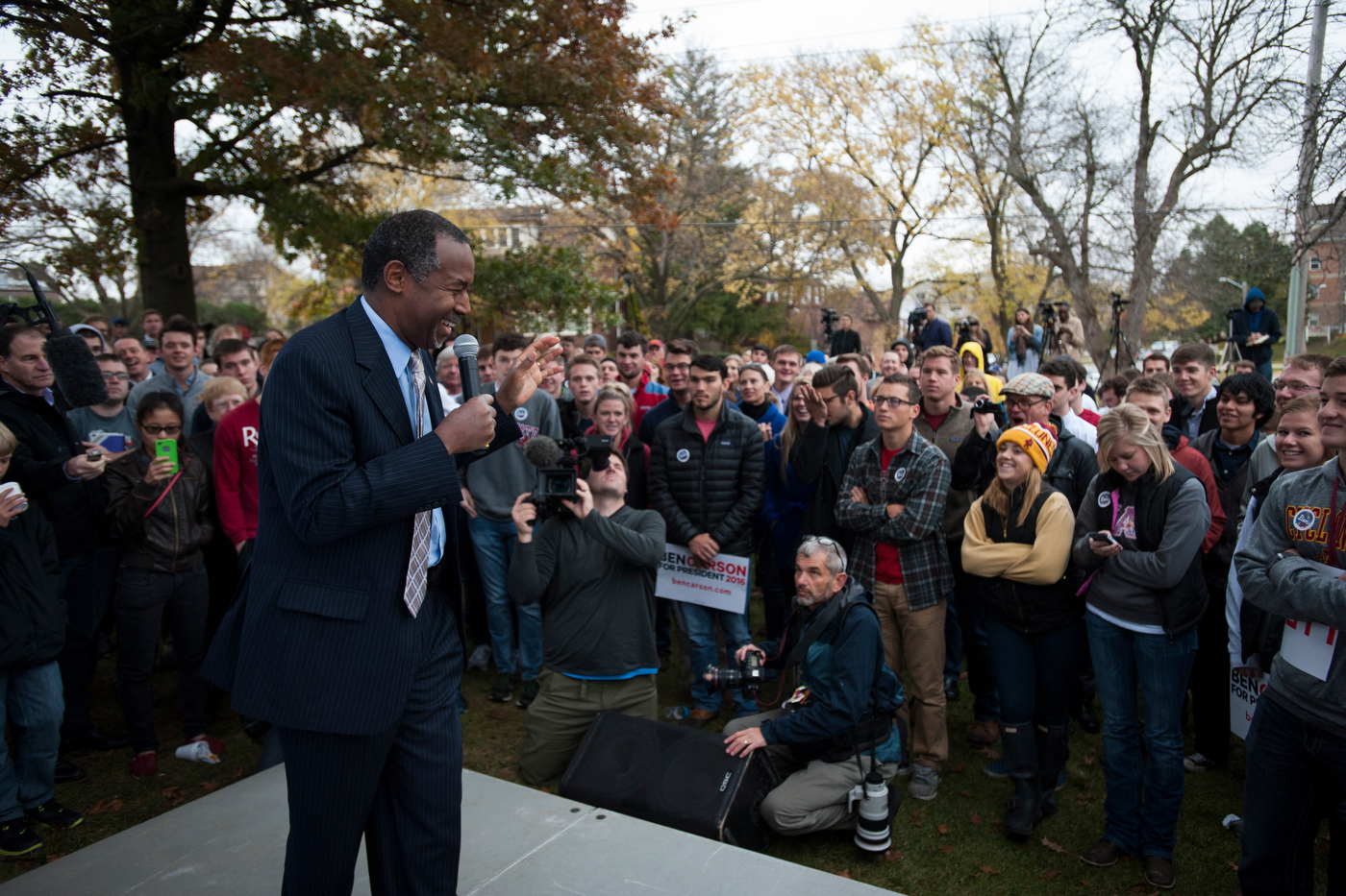 Republican presidential candidate Dr. Ben Carson speaks during a breakfast at the Alpha Gamma Roh fraternity at Iowa State University in Ames, Iowa.