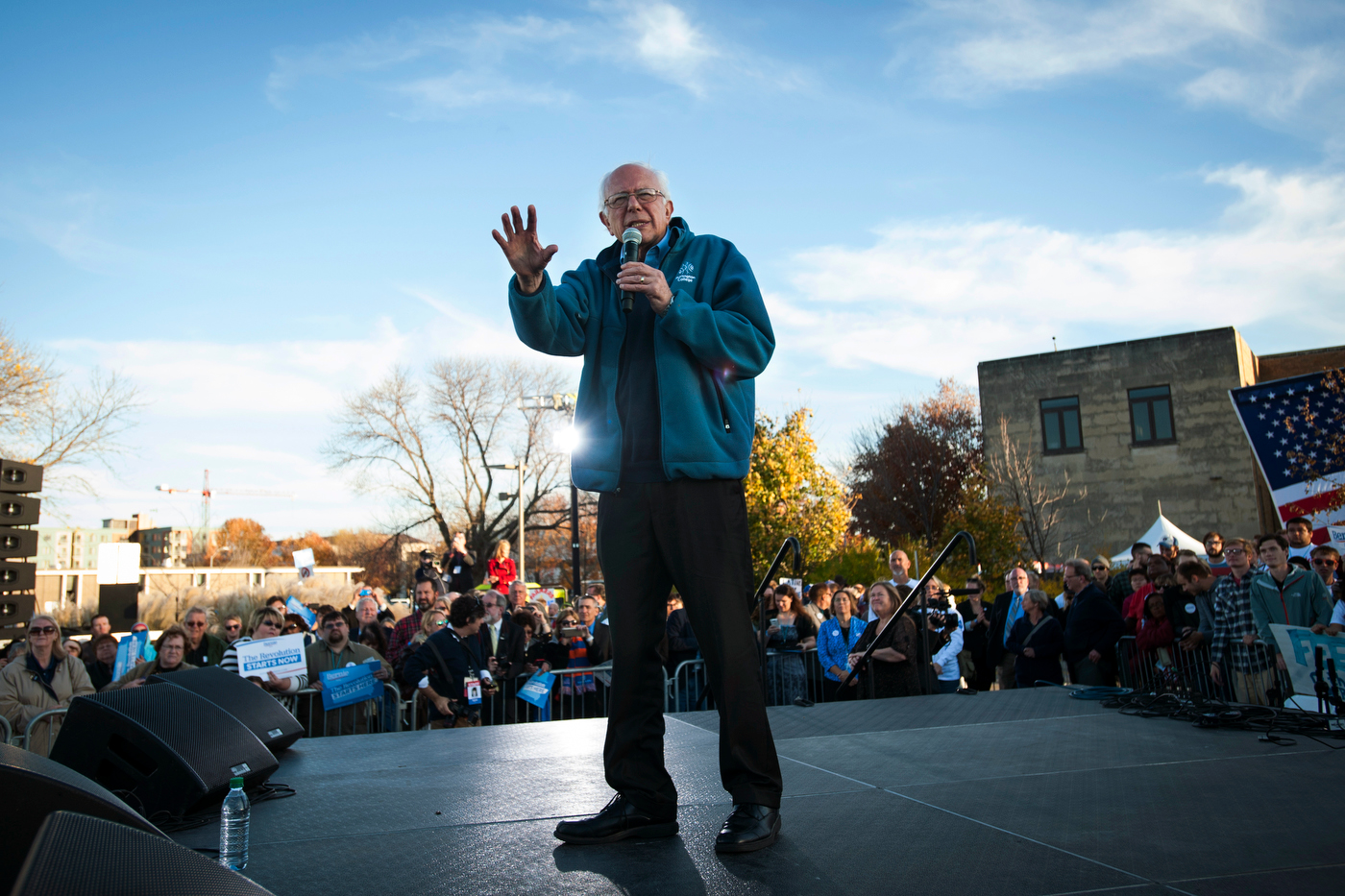 Democratic presidential candidate Sen. Bernie Sanders speaks at a campaign rally ahead of a march across the Iowa Women of Achievement Bridge in downtown Des Moines, IA.