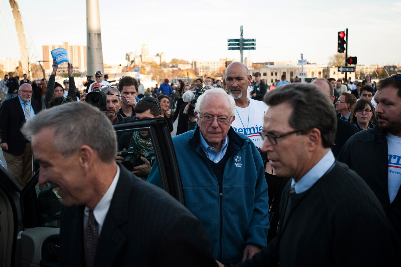 Democratic presidential candidate Sen. Bernie Sanders leaves a rally to attend the Jefferson-Jackson Dinner in Des Moines where he, Hillary Clinton, and Martin O'Malley spoke to Democratic supporters.