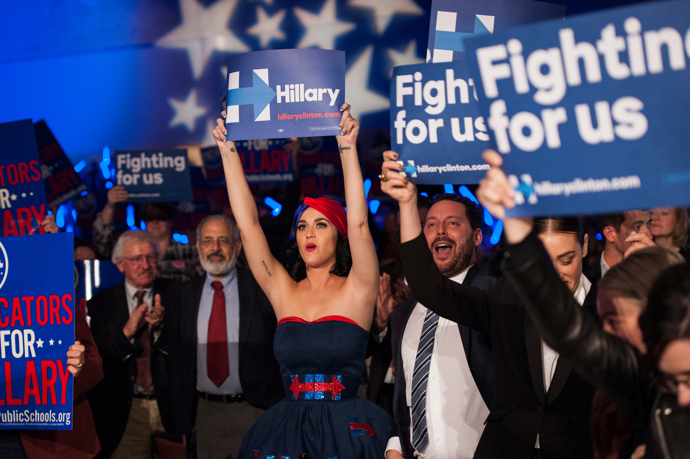 Katy Perry cheers for Democratic Presidential candidate Hillary Clinton at the Jefferson-Jackson Dinner in Des Moines, Iowa. Perry performed earlier in the day at Hillary Clinton's rally just a few blocks away.