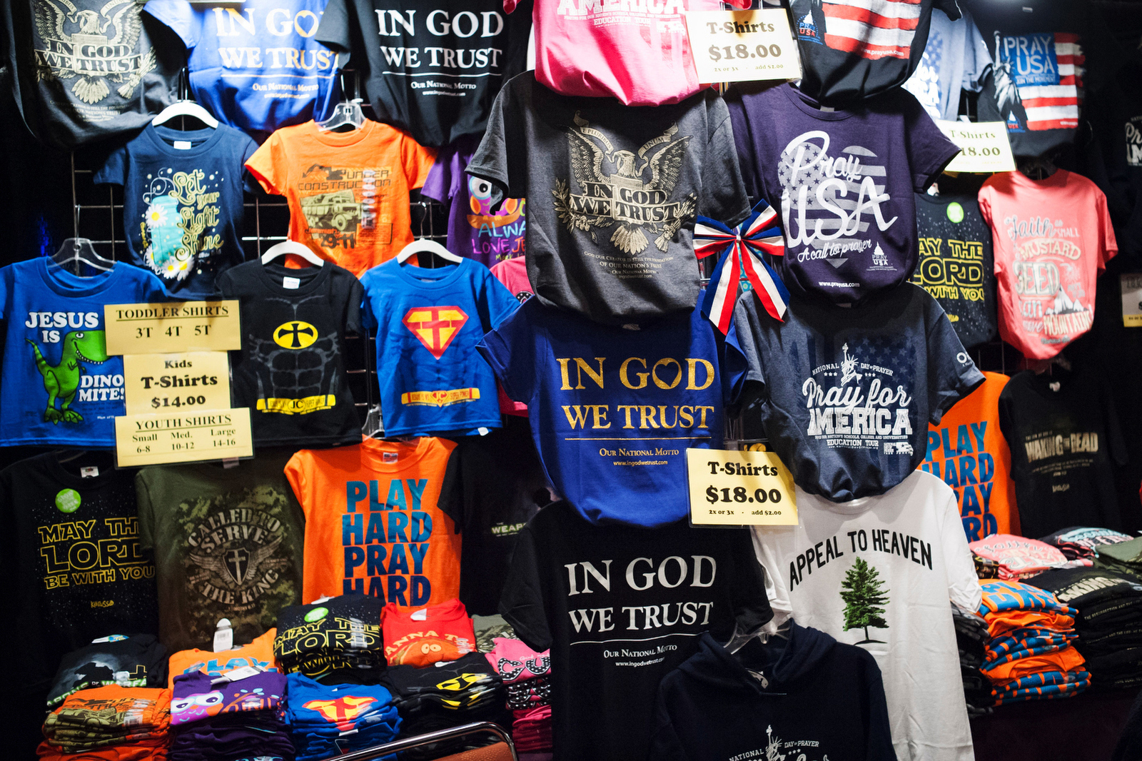 Religious and political clothing sits for sale at the Freedom 2015 National Religious Liberties Conference in Des Moines, Iowa November 6, 2015.