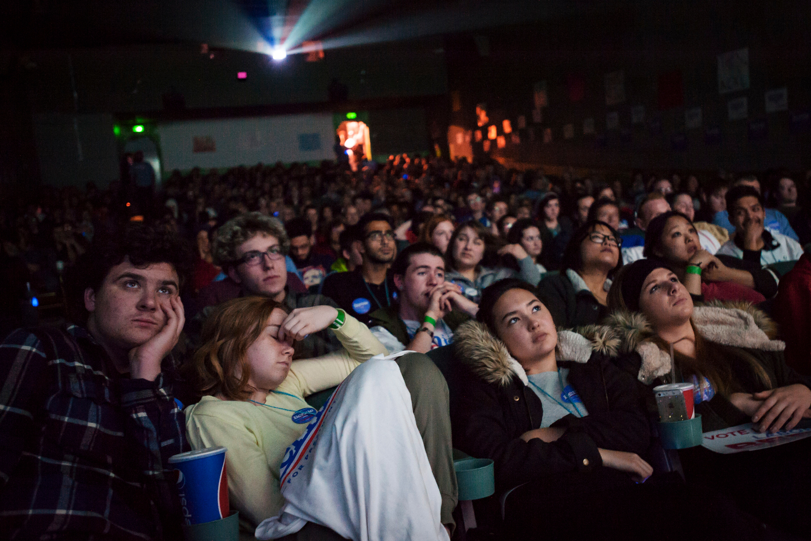 Supporters at a debate watch event in hosted by the campaign of Democratic U.S. presidential candidate Bernie Sanders in Des Moines, Iowa November 14, 2015.