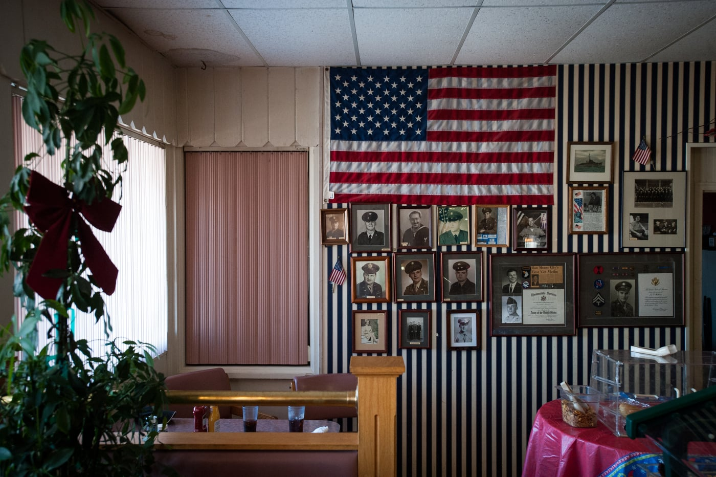 Decorations along the wall where U.S. Republican presidential candidate Ted Cruz held a campaign stop at Danny's Sports Spot in Cherokee, Iowa January 5, 2016.
