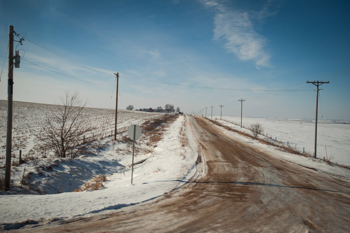 The road between Onawa and Cherokee towards Danny's Sports Spot in Cherokee, Iowa where Ted Cruz will hold his second event of the day January 5, 2016.