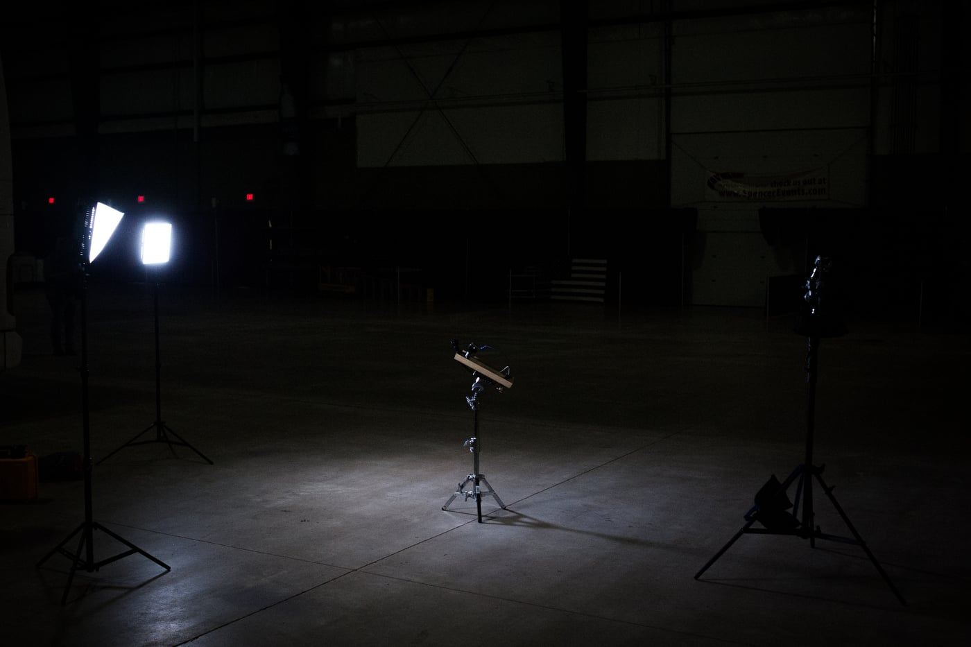 A television network setup for a live report ahead of U.S. Republican presidential candidate Ted Cruz' campaign stop at the Clay County Regional Event Center Ballroom in Spencer, Iowa January 6, 2016.