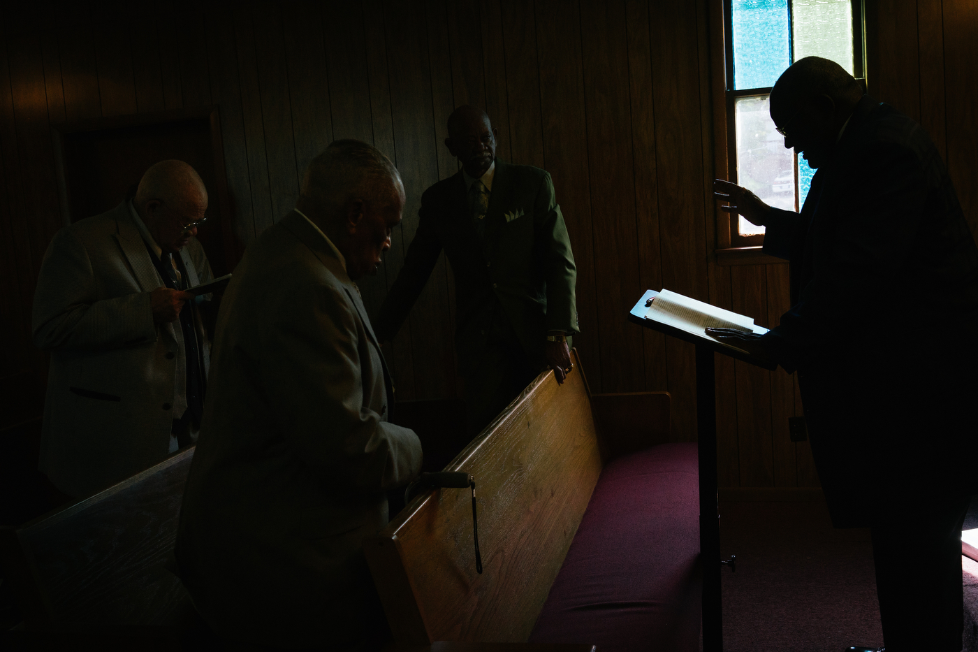 Rev. Jerry Reese preaches to Sunday school at the Christ Love Devine Missionary Baptist Church.