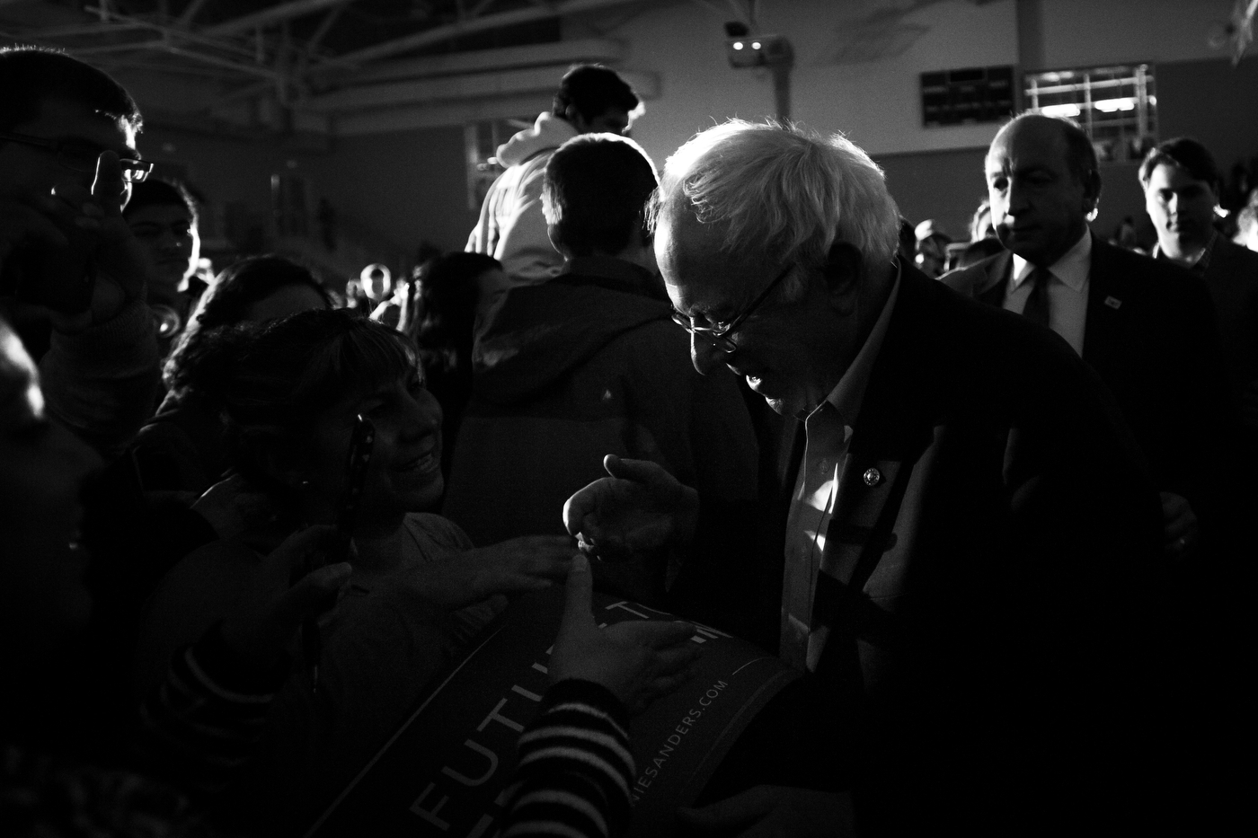 U.S. Democratic presidential candidate Bernie Sanders greets supporters after speaking during a campaign event at Grinnell College in Grinnell, Iowa on January 25.