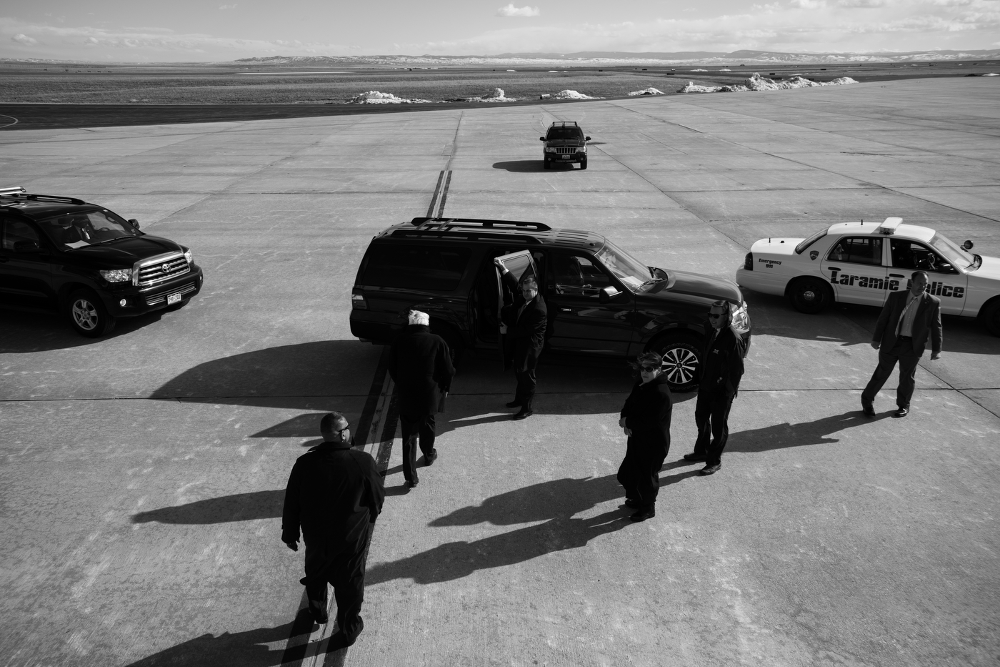 Democratic presidential candidate Bernie Sanders leaves his campaign charter plane and heads to his motorcade en route to a campaign rally at the University of Wyoming in Laramie, Wyoming on April 5. Sanders was the only Democratic candidate to travel to Wyoming and would win their caucuses a few days later.