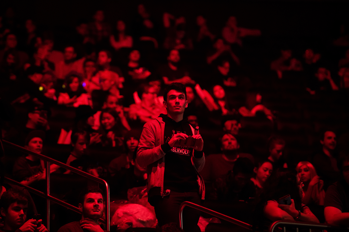 A fan goes to take a photo at Madison Square Garden.